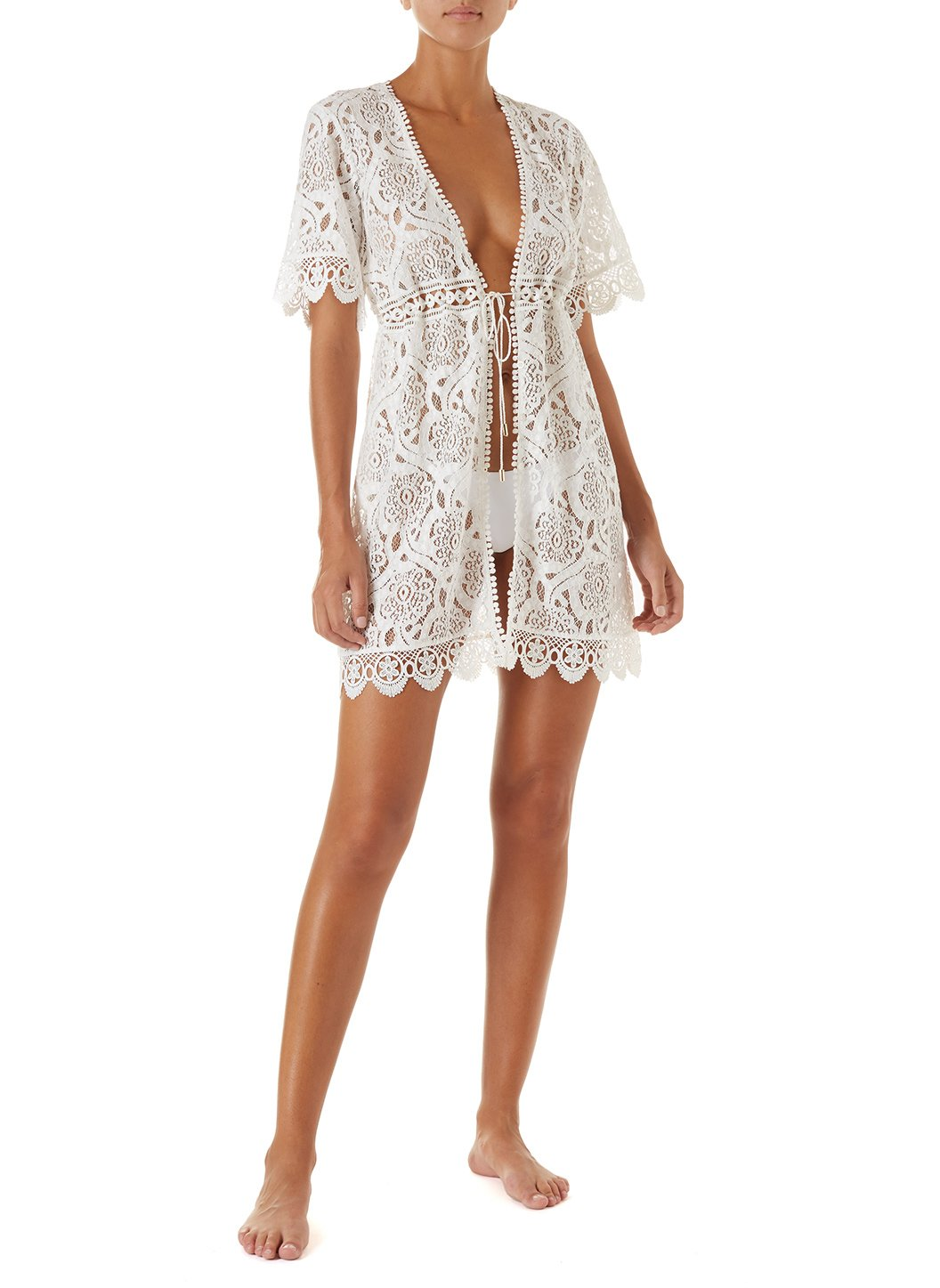 barrie white embroidered lace short button down coverup 2019 F