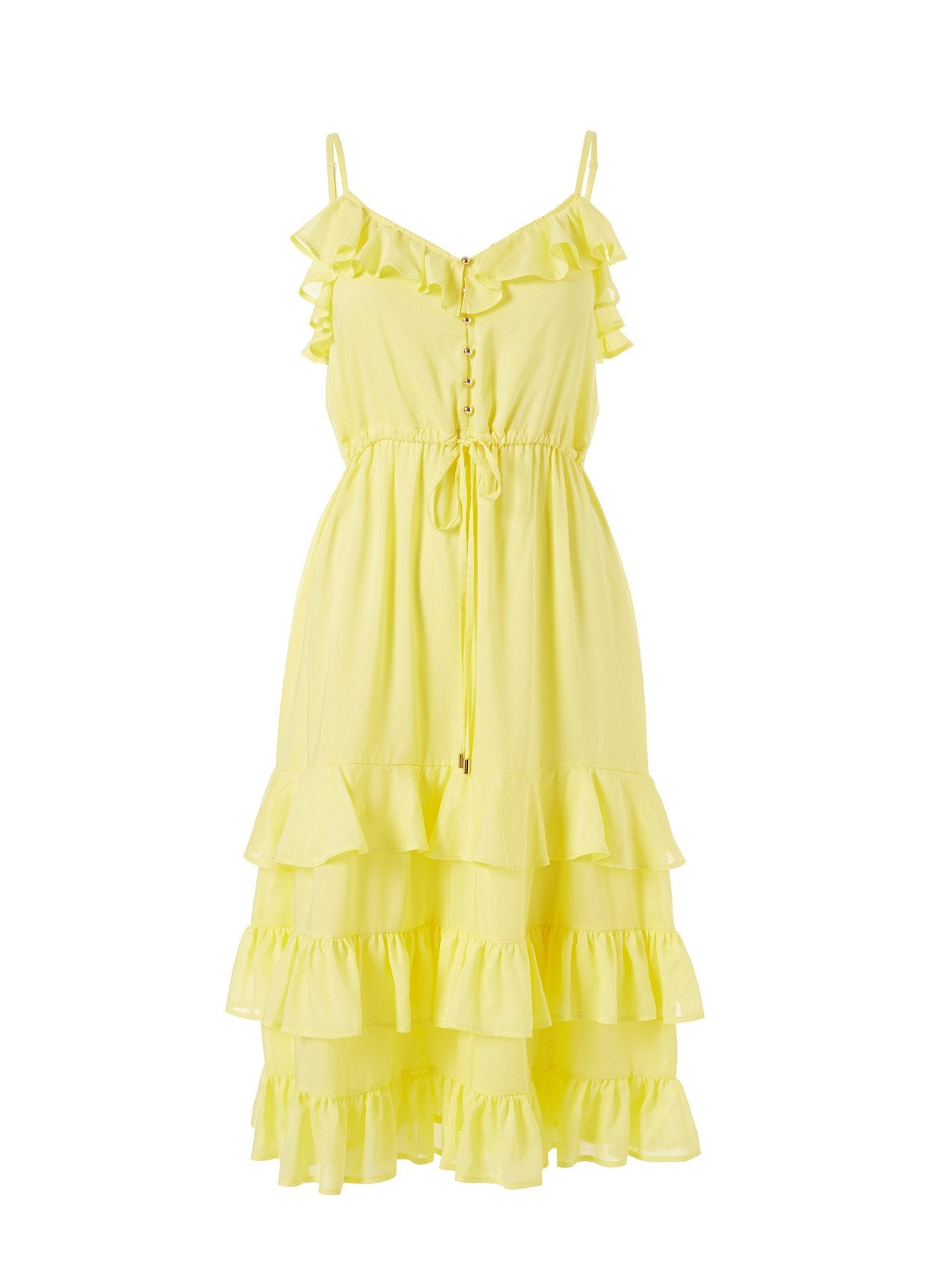 Bethan Yellow Frill Over The Shoulder Midi Dress 2020