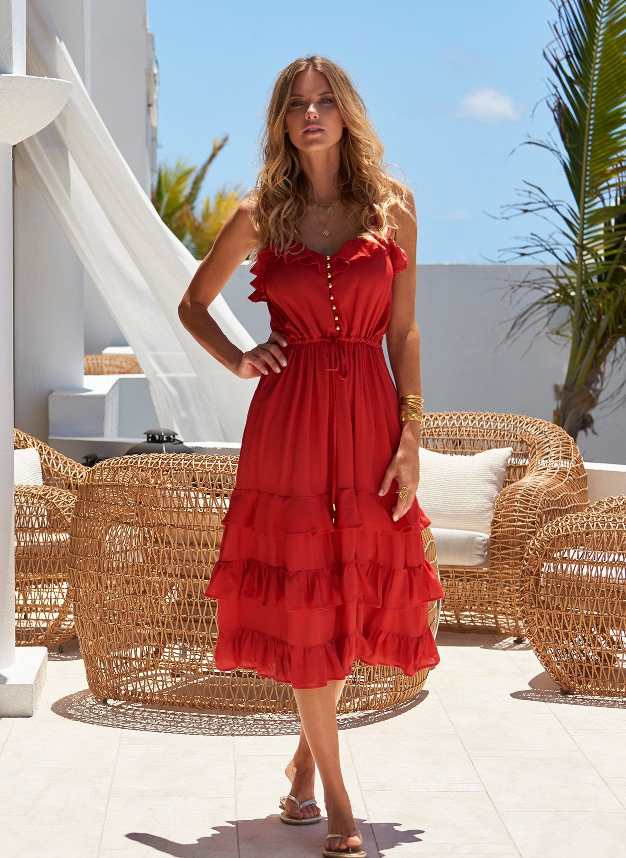 Bethan Red Midi Dress