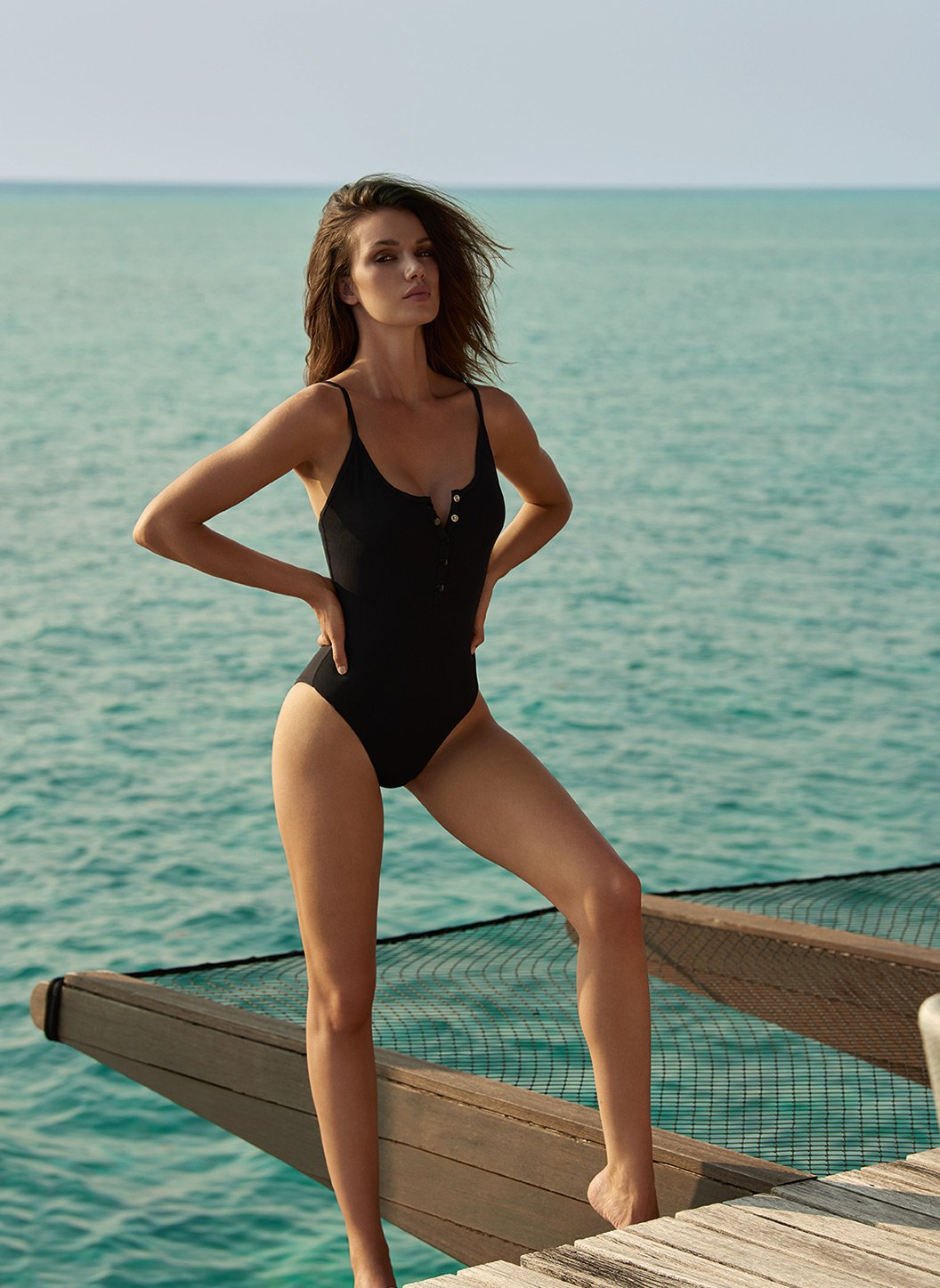 calabasas black ribbed overtheshoulder popper onepiece swimsuit lifestyle 2019