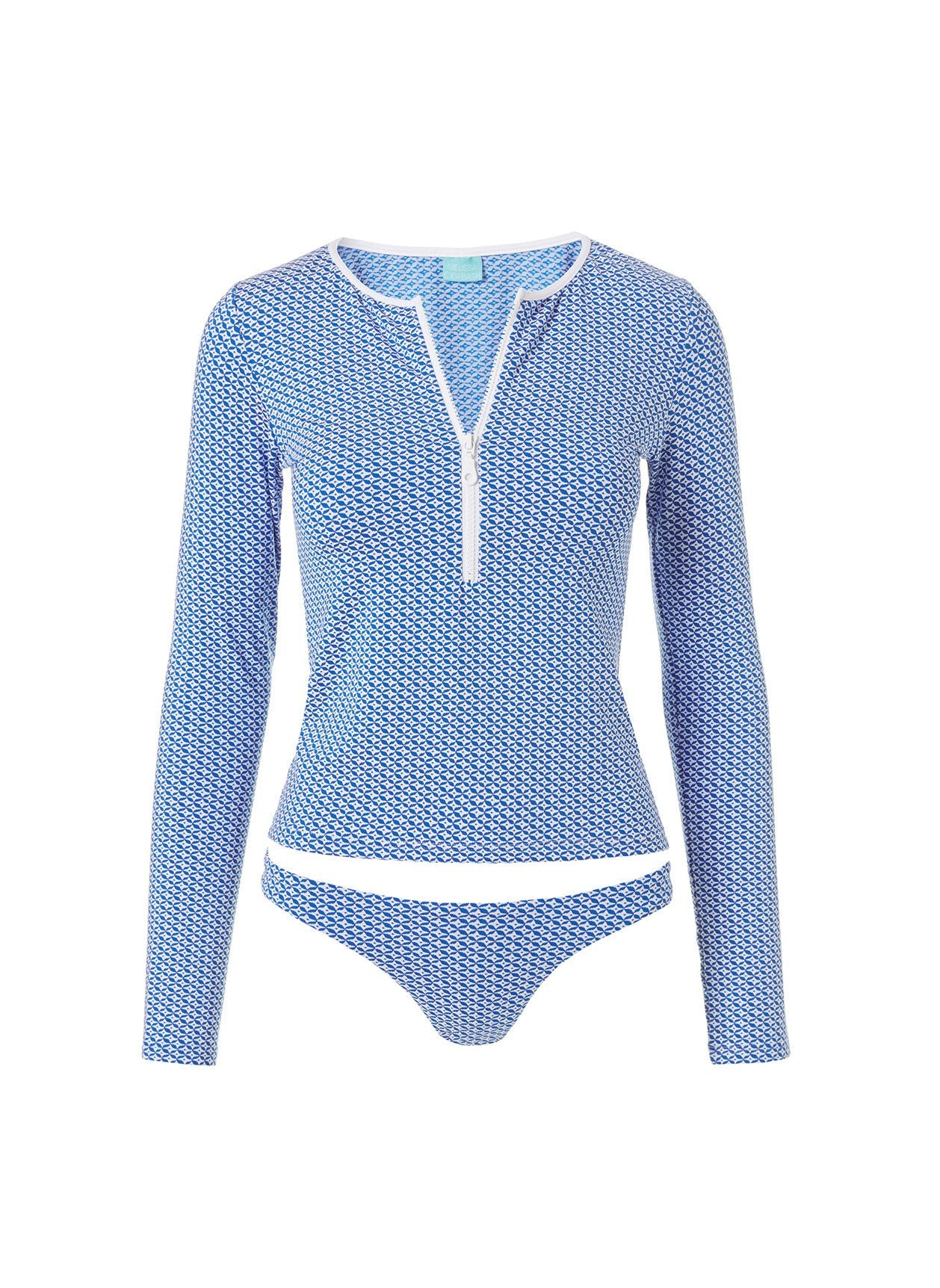 Cali Mosaic Blue Long Sleeve Rash Vest Bikini 2020