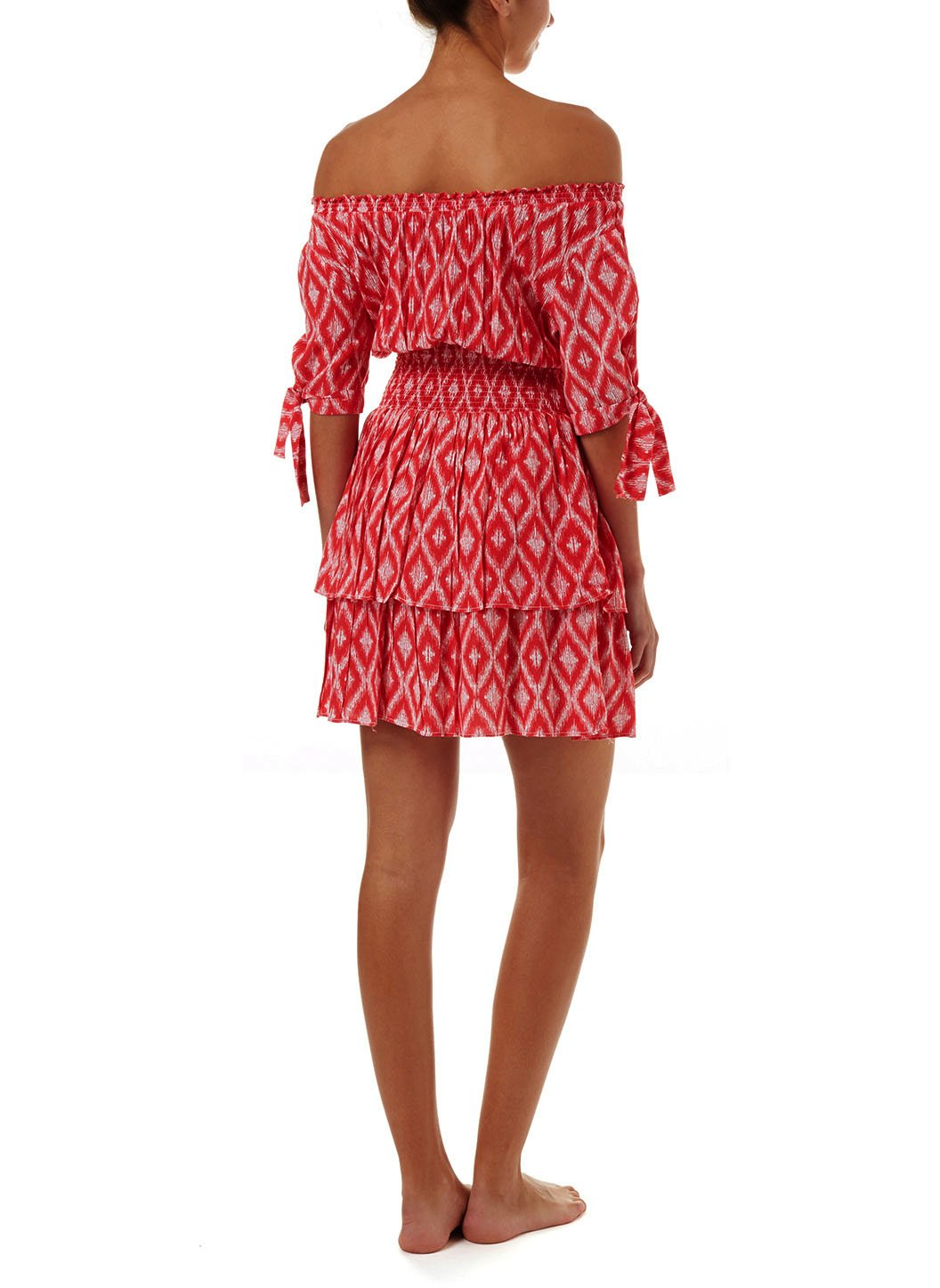camilla red ikat offtheshoulder short dress 2019 B