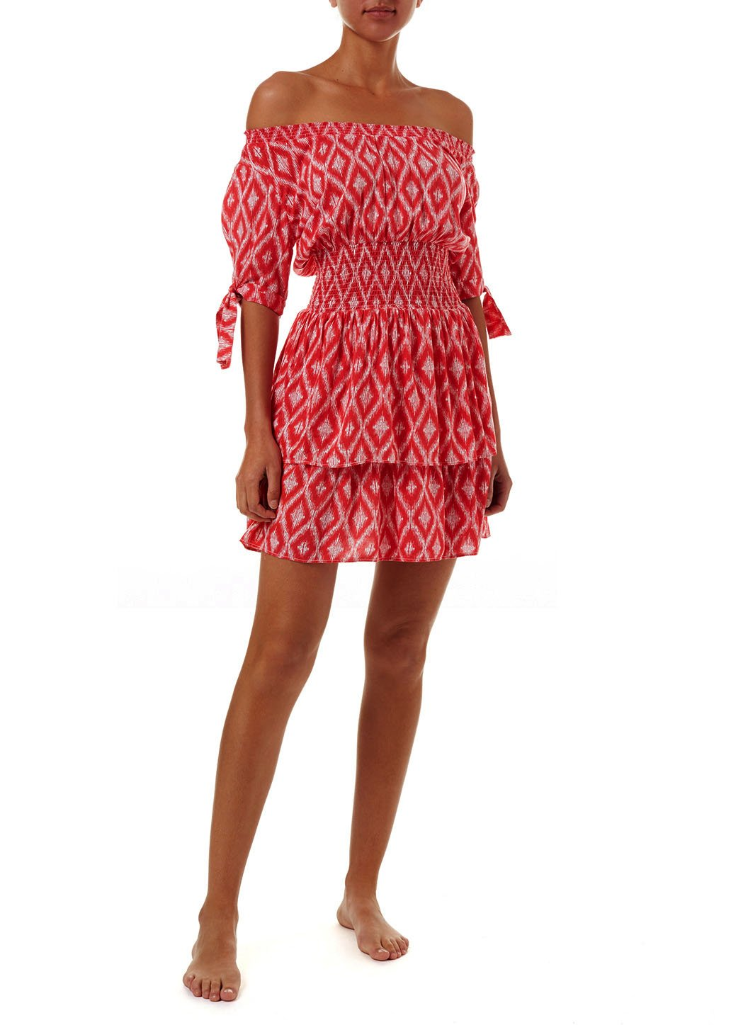 camilla red ikat offtheshoulder short dress 2019 F