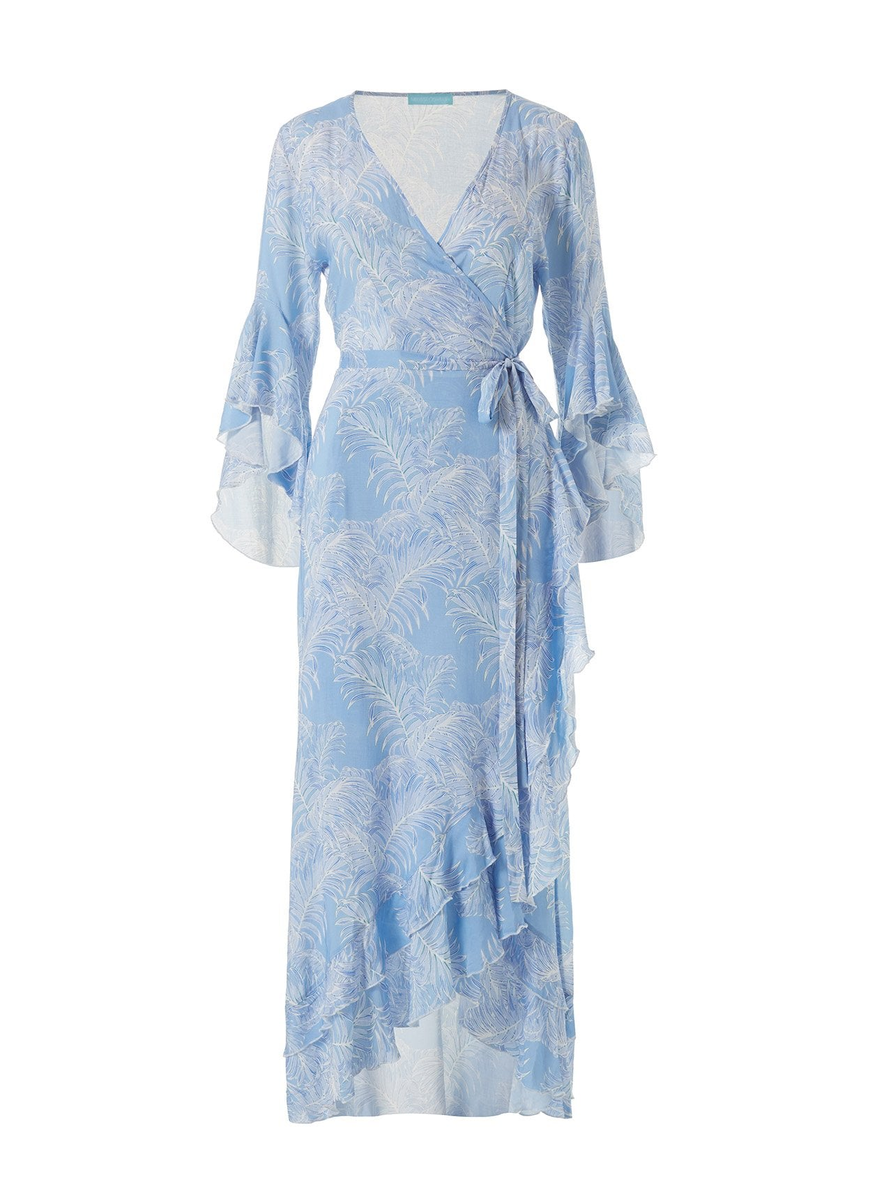 Cheryl Tropical Blue Maxi Wrap Dress 2020