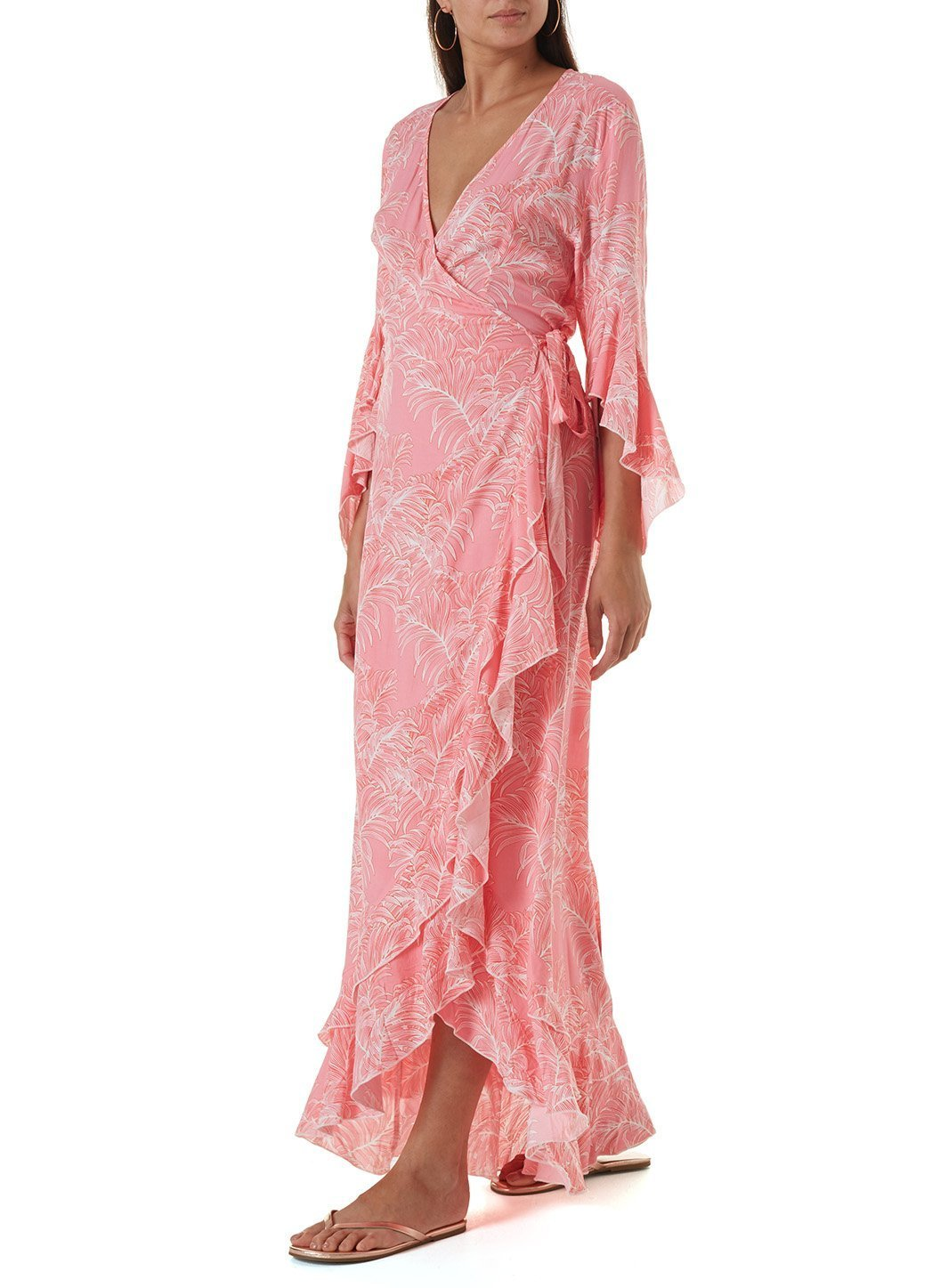 cheryl tropical coral long dress
