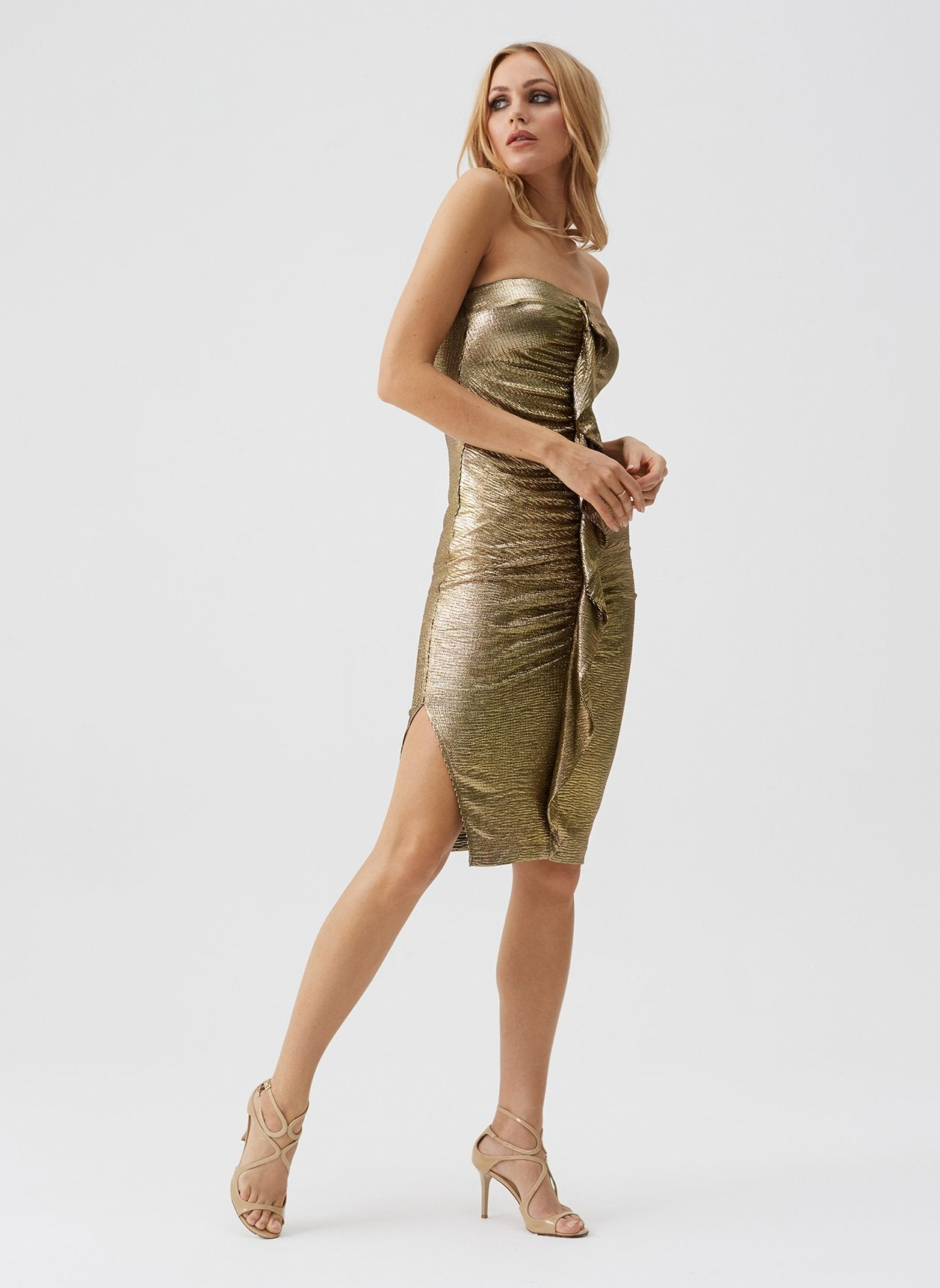 Dru Gold Strapless Gathered Midi Dress