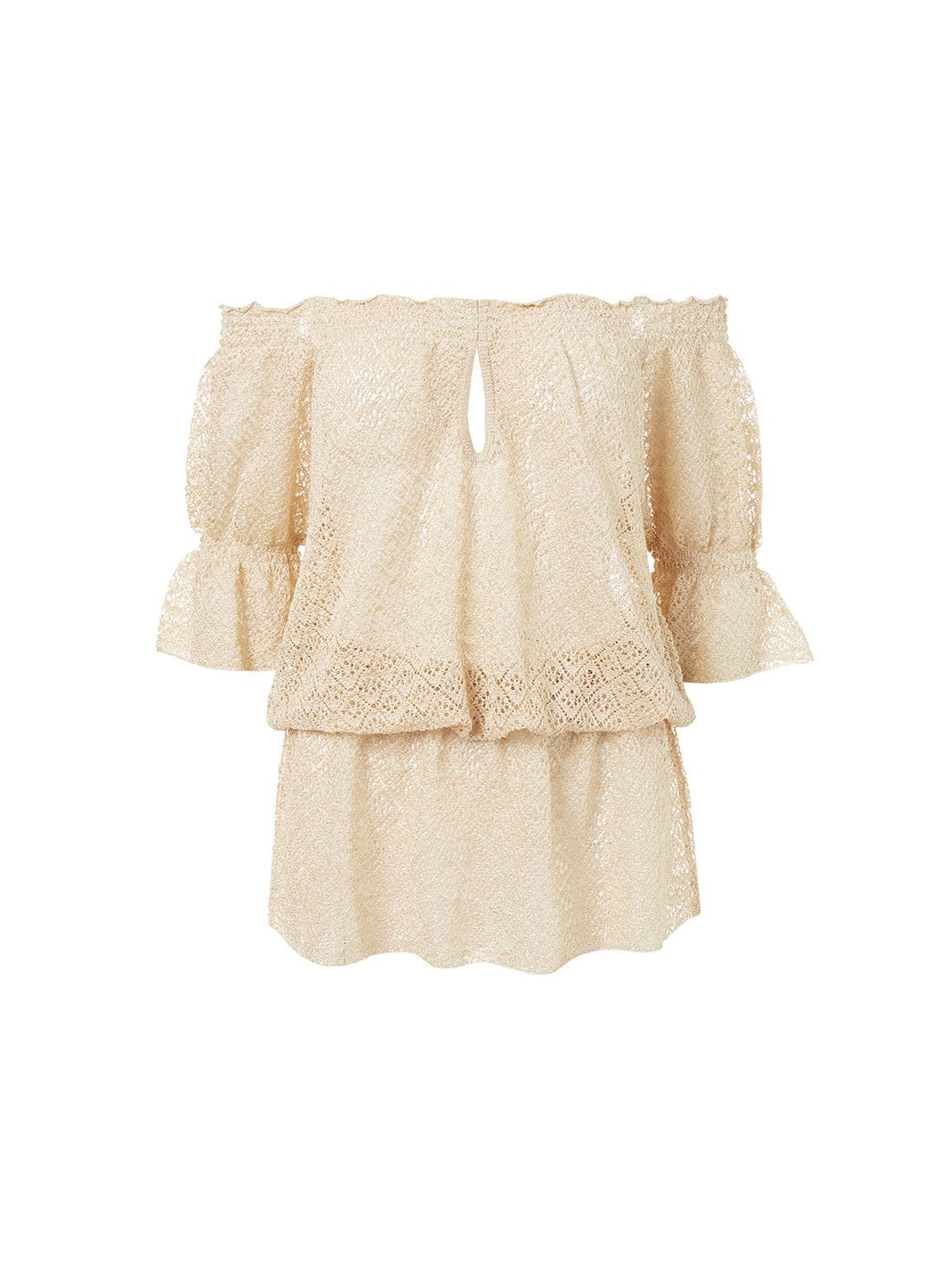 flo gold crochet offtheshoulder short beach dress 2019