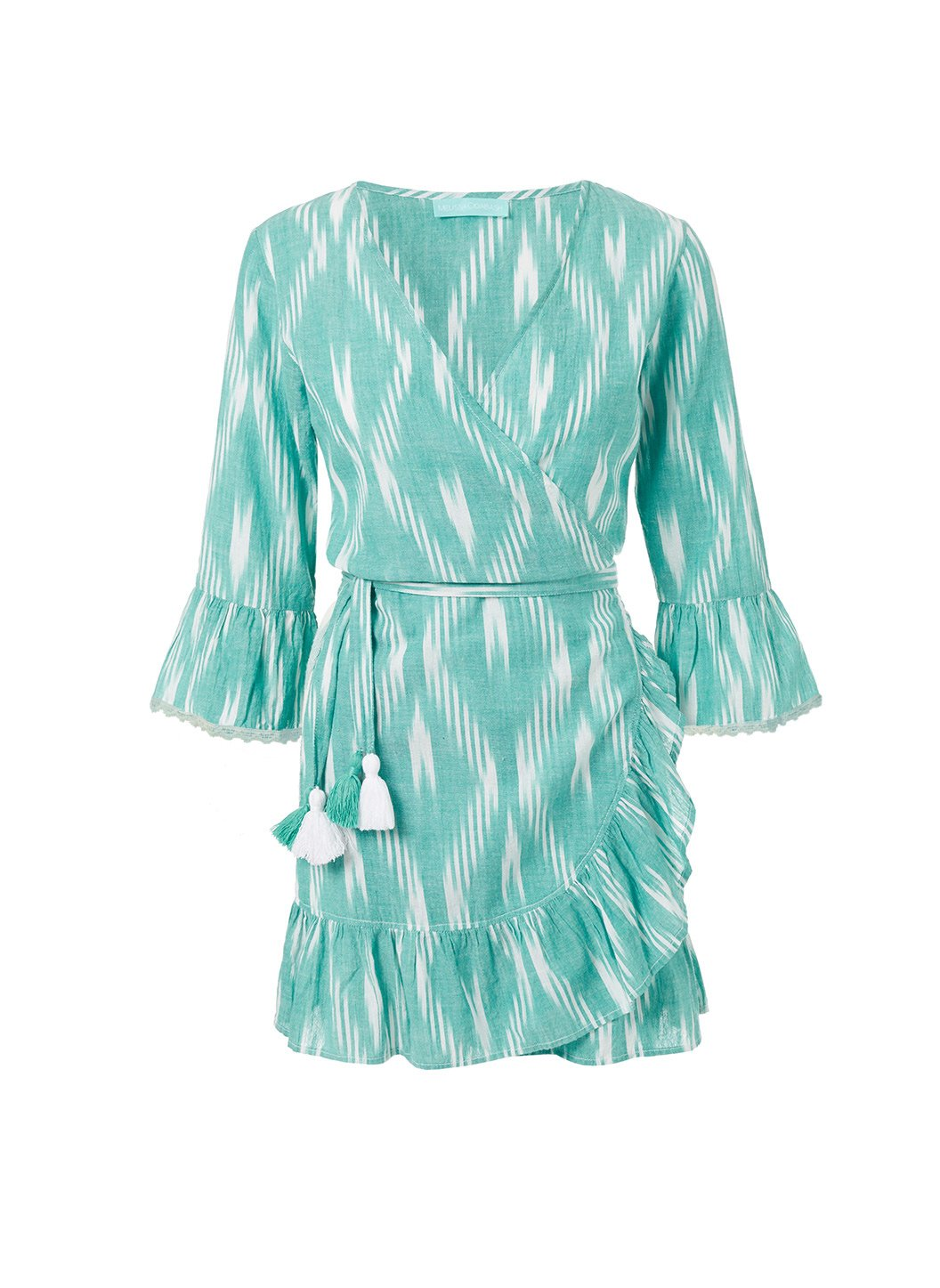 freya green ikat short belted wrap dress 2019