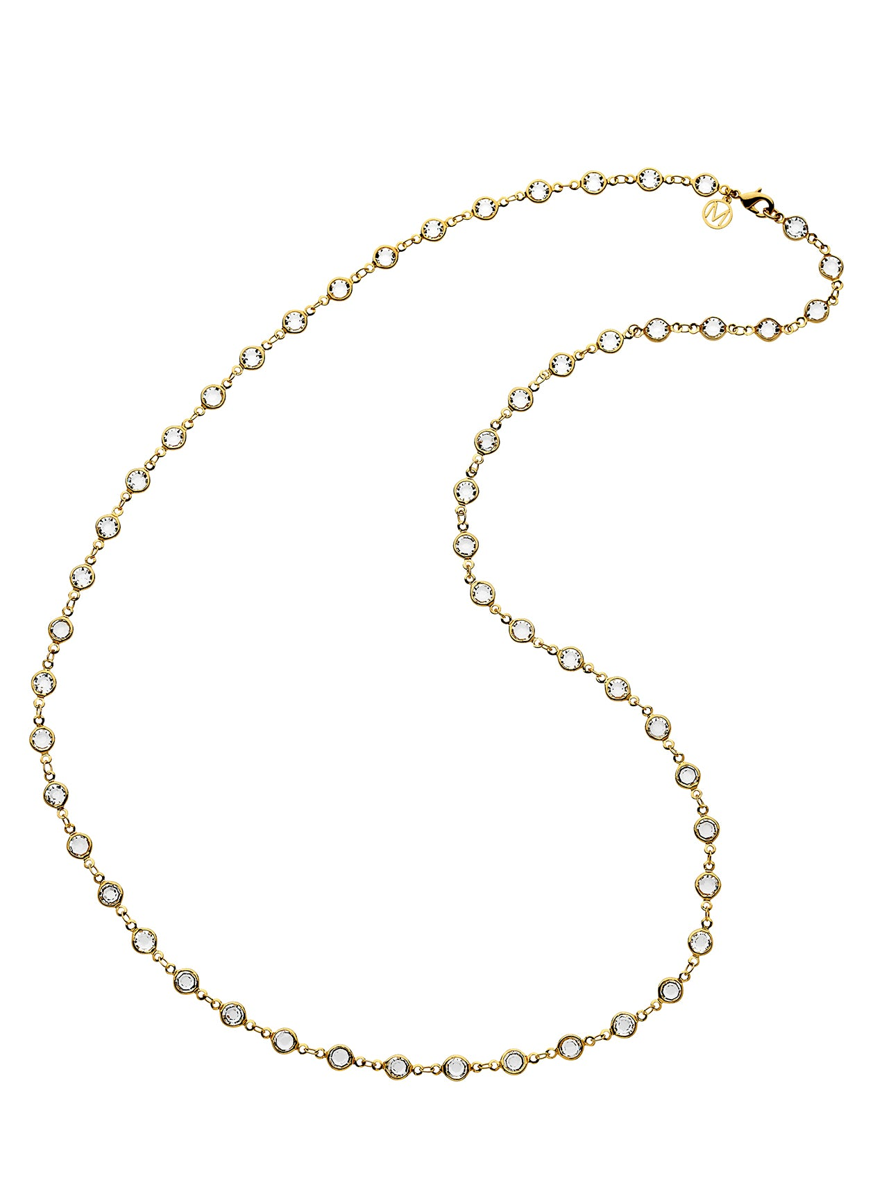 Gold Swarovski Crystal Chanel Long Chain Necklace