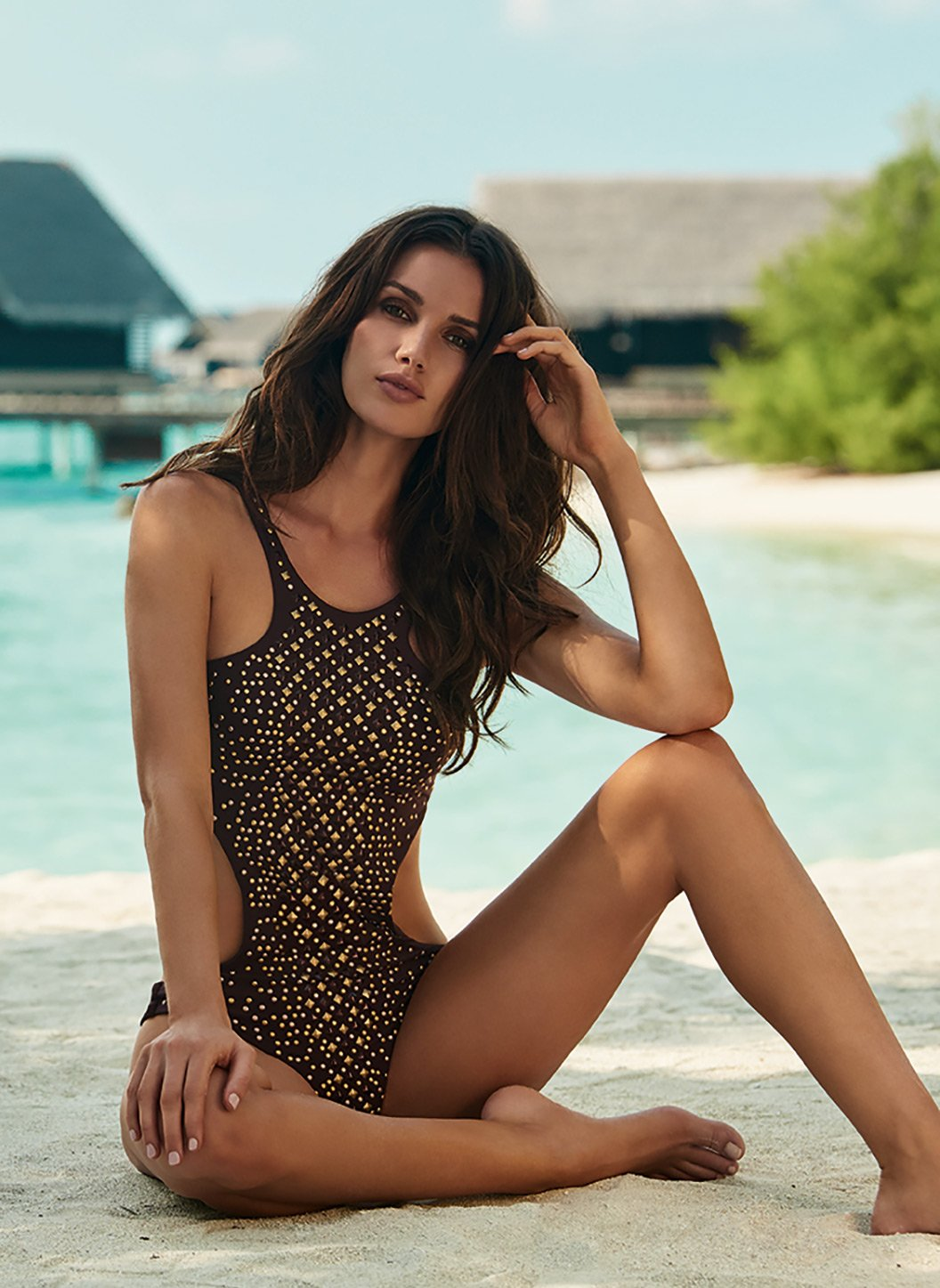hollywood walnut studded cutout onepiece swimsuit lifestyle 2 2019
