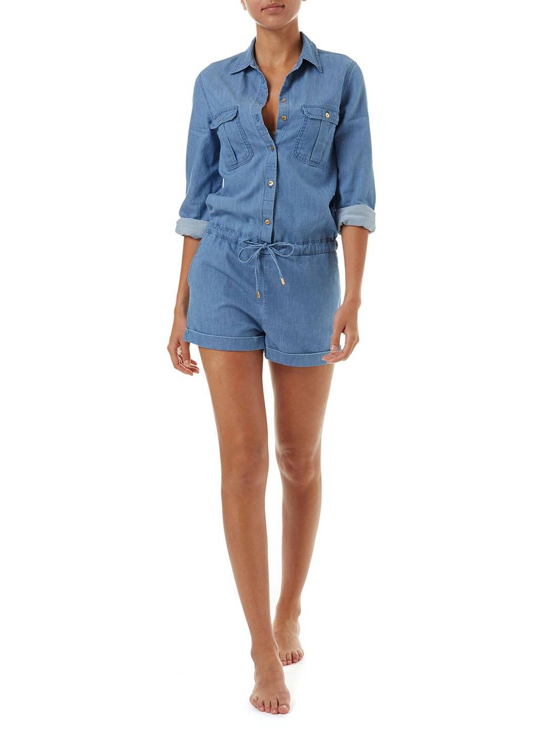 honour blue denim utility playsuit 2019 F