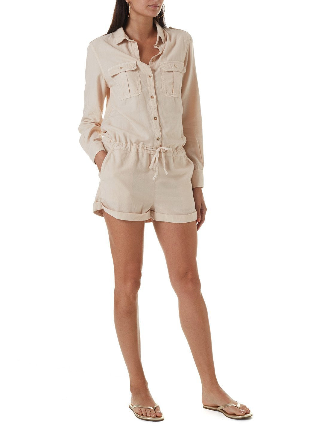 honour tan playsuit