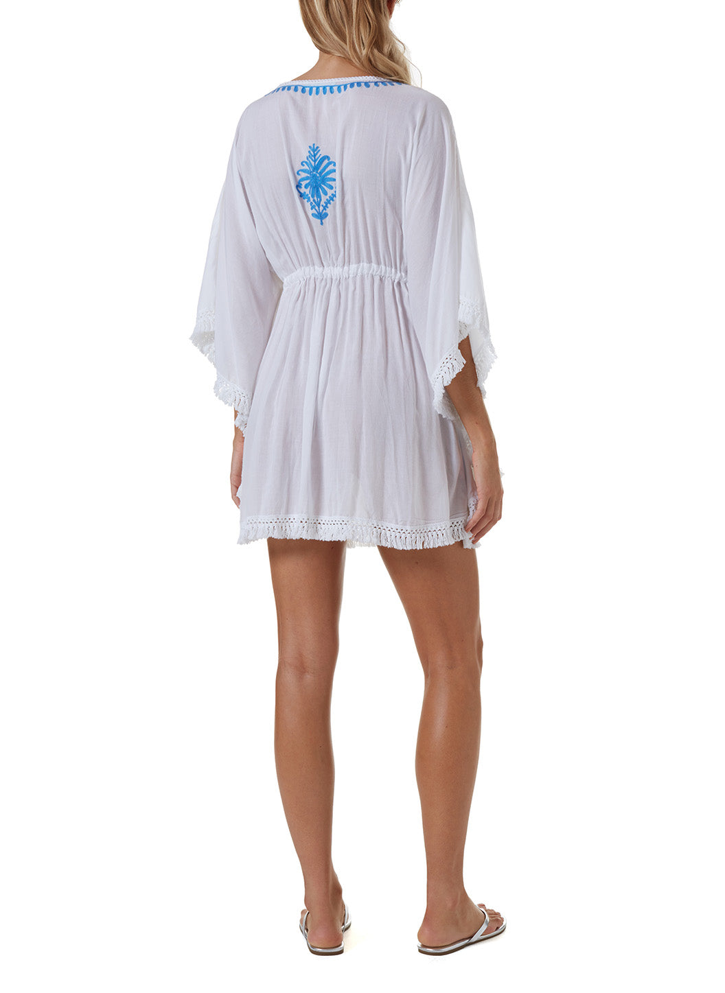 Irene White/Royal Blue Short Kaftan