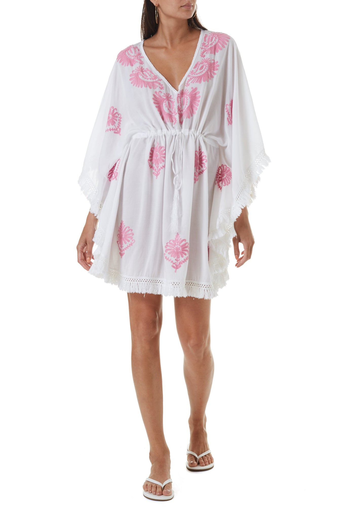 irene white rose short kaftan