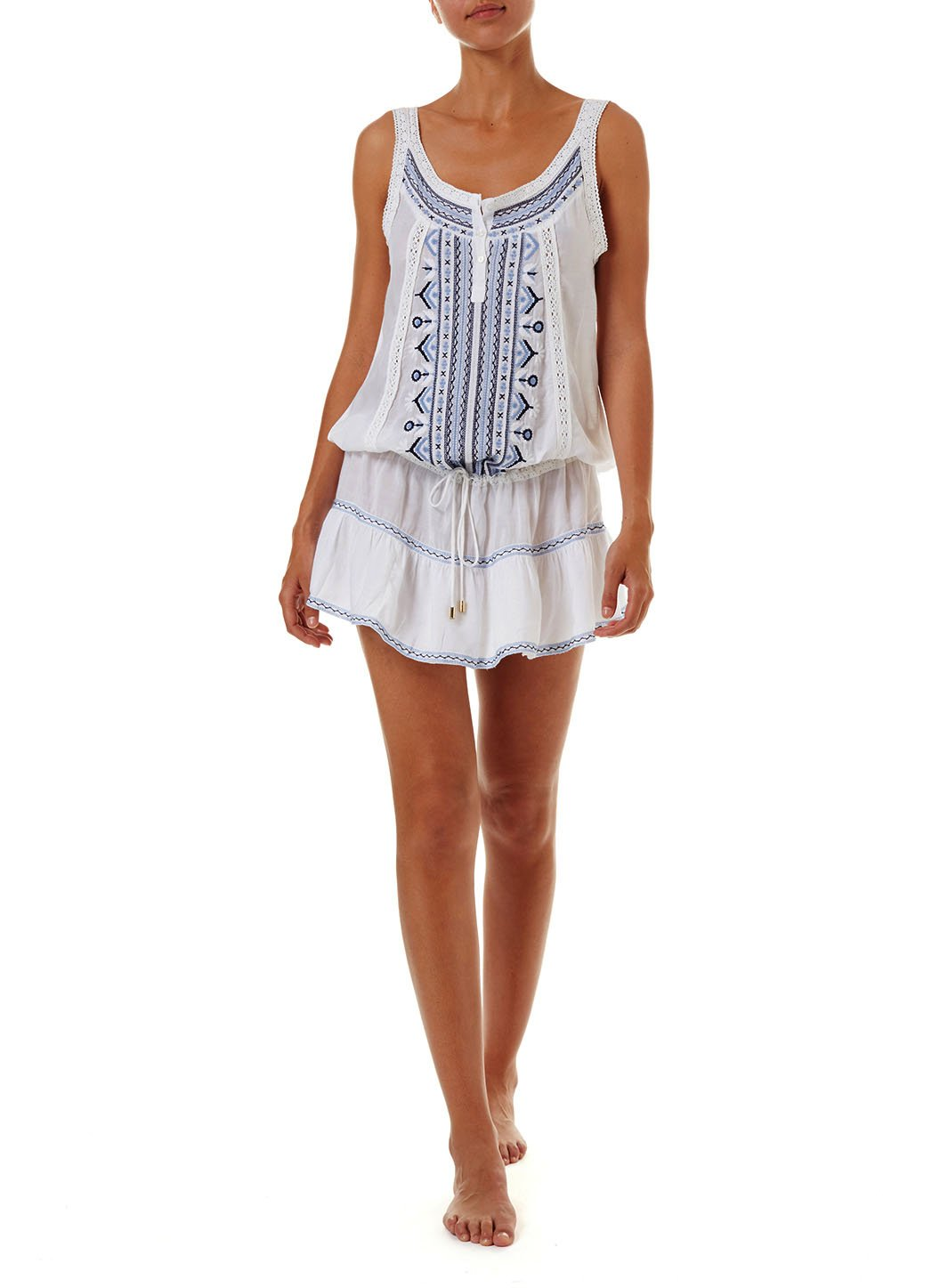 jaz white navy embroidered overtheshoulder short beach dress 2019 F
