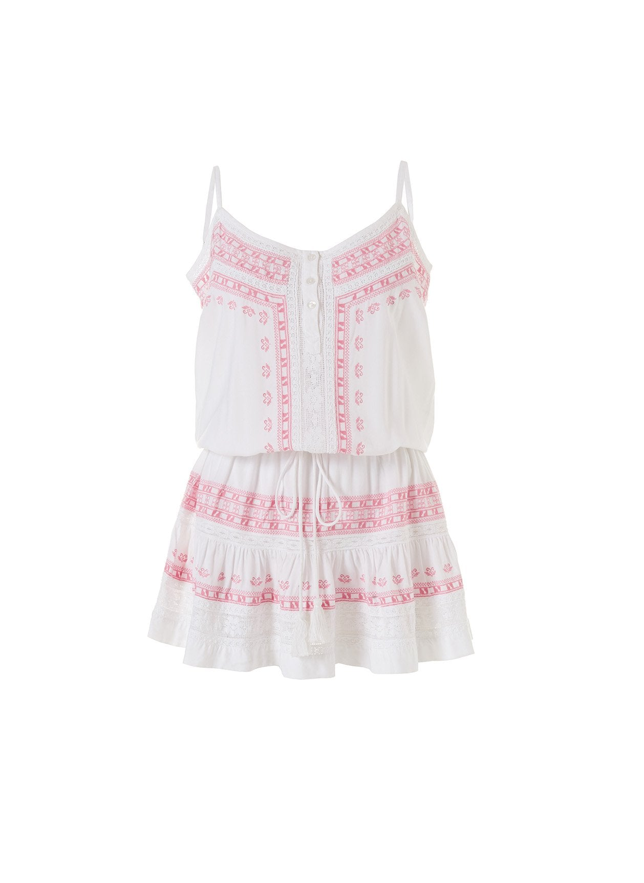 Karen White/Blush Embroidered Over The Shoulder Short Dress 2020