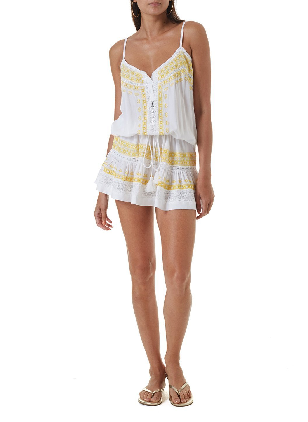 karen white yellow short kaftan