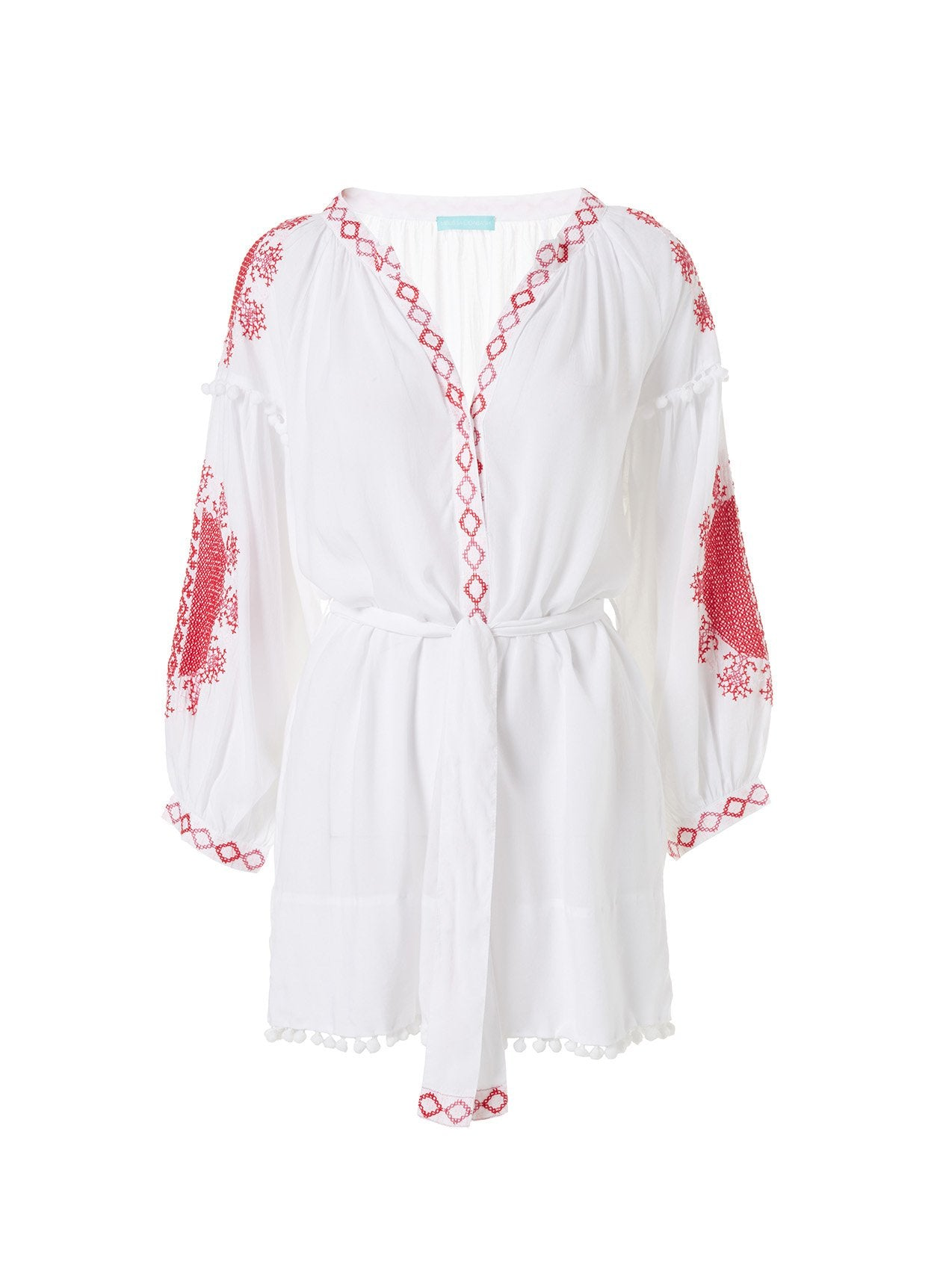 Katya White/Red Short Kaftan