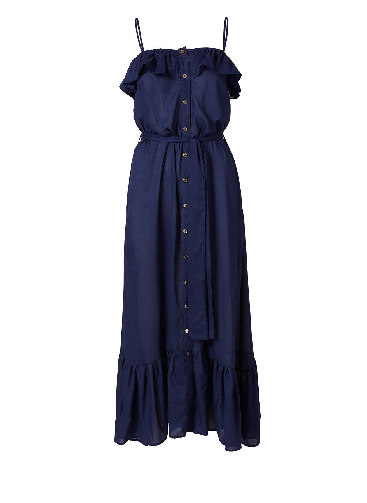 Kyla Navy Frill Button Down Over The Shoulder Maxi Dress 2020
