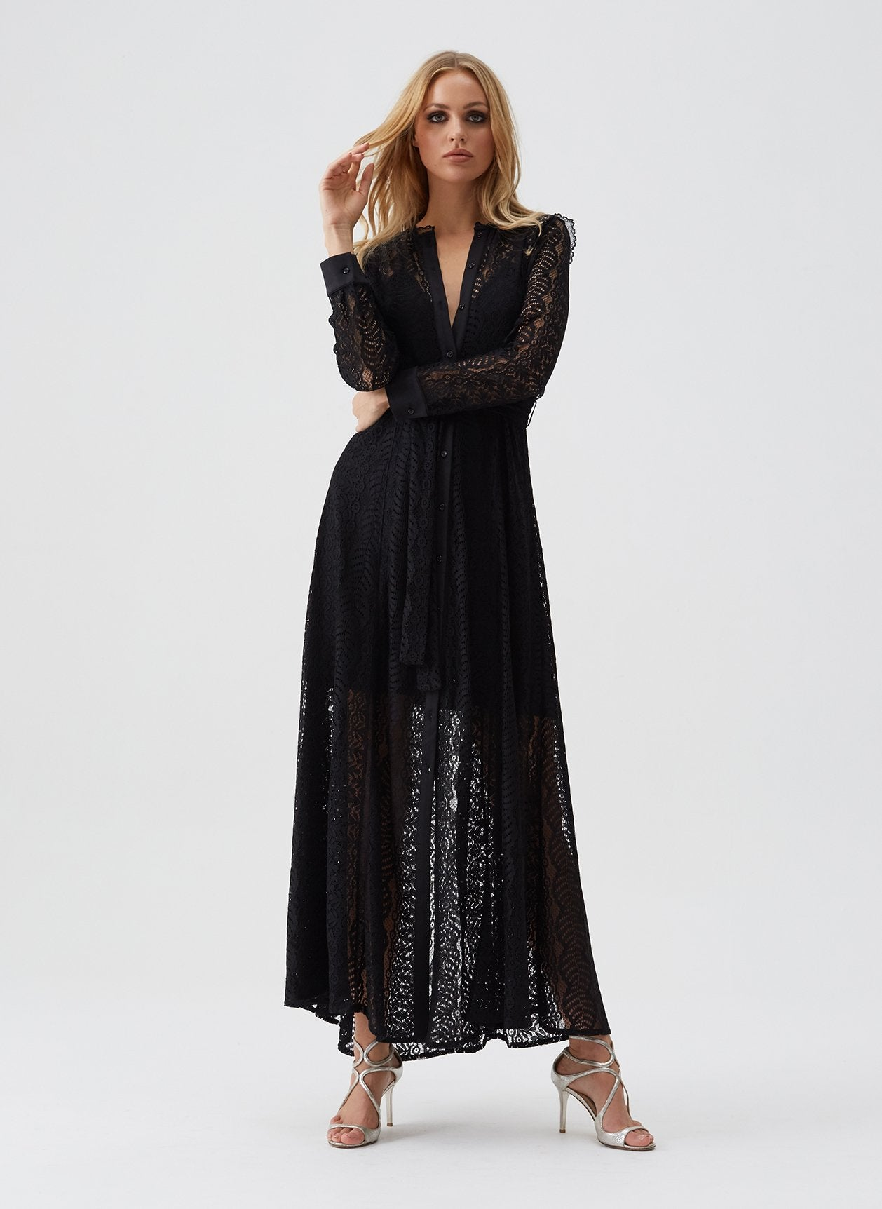 Leila Black Lace Shirt Maxi Dress