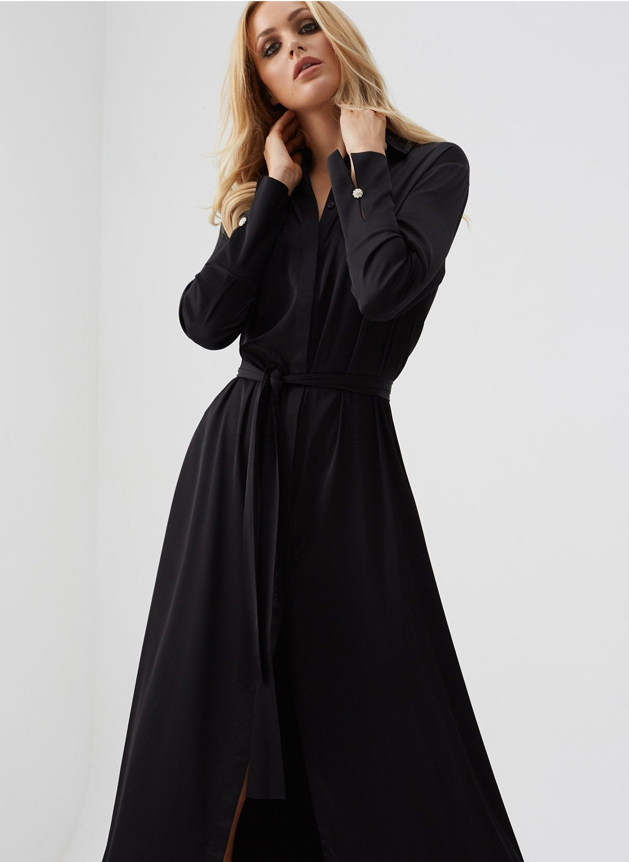 Domenica Black Shirt Maxi Dress