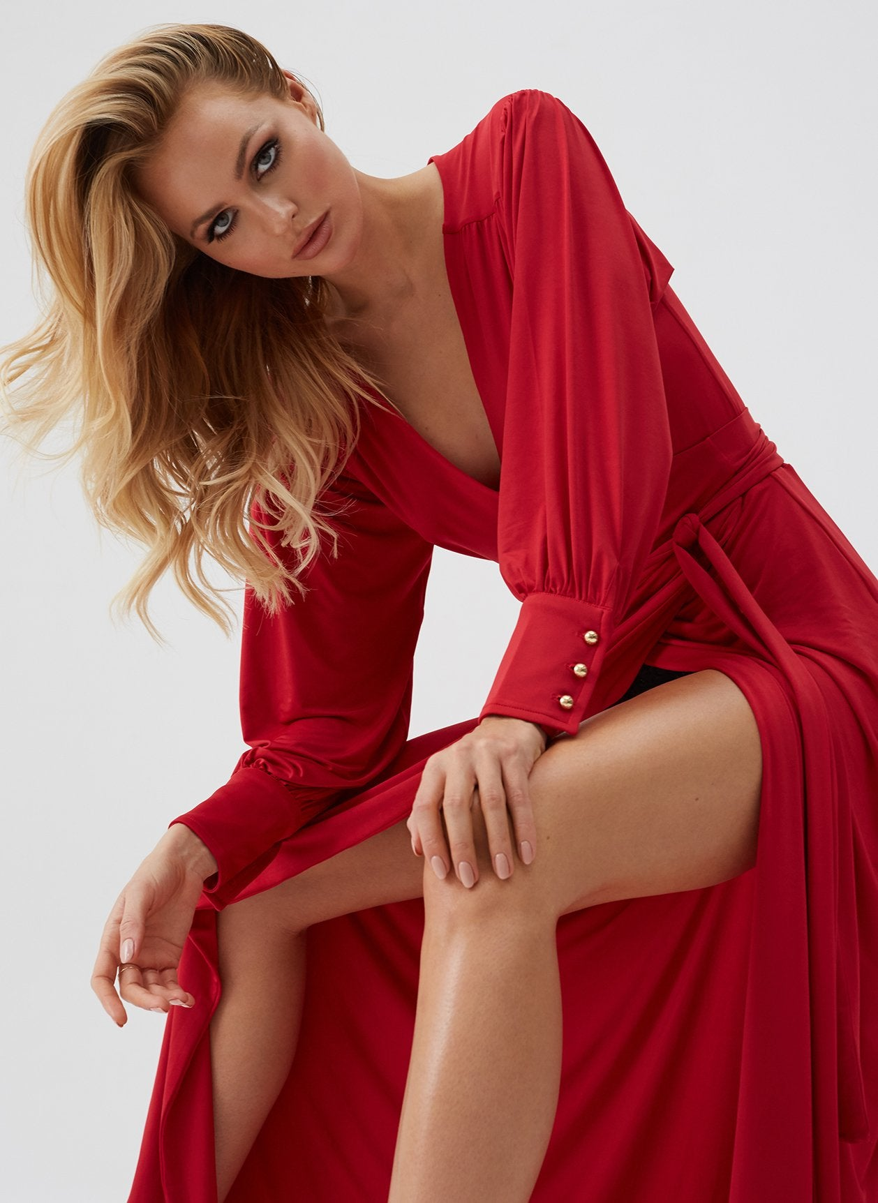 Libby Red Classic Wrap Maxi Dress