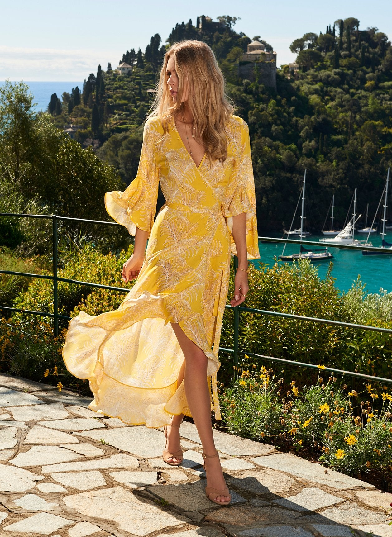 Cheryl Tropical Yellow Maxi Wrap Dress 2020