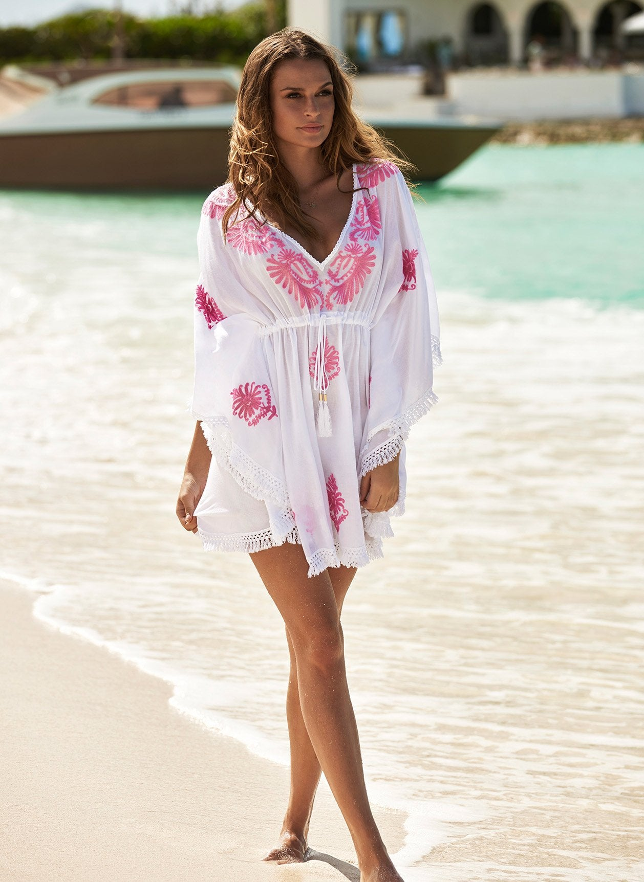 Irene White/Rose Short Kaftan