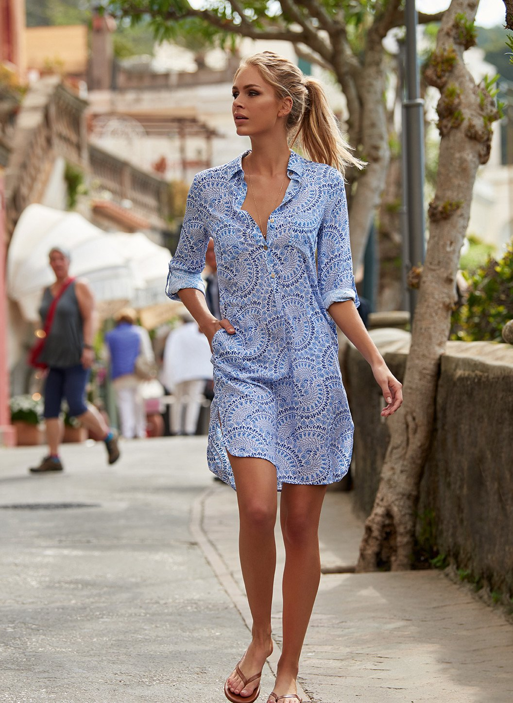 lois capri button down belted shirt dress lifestyle 2019