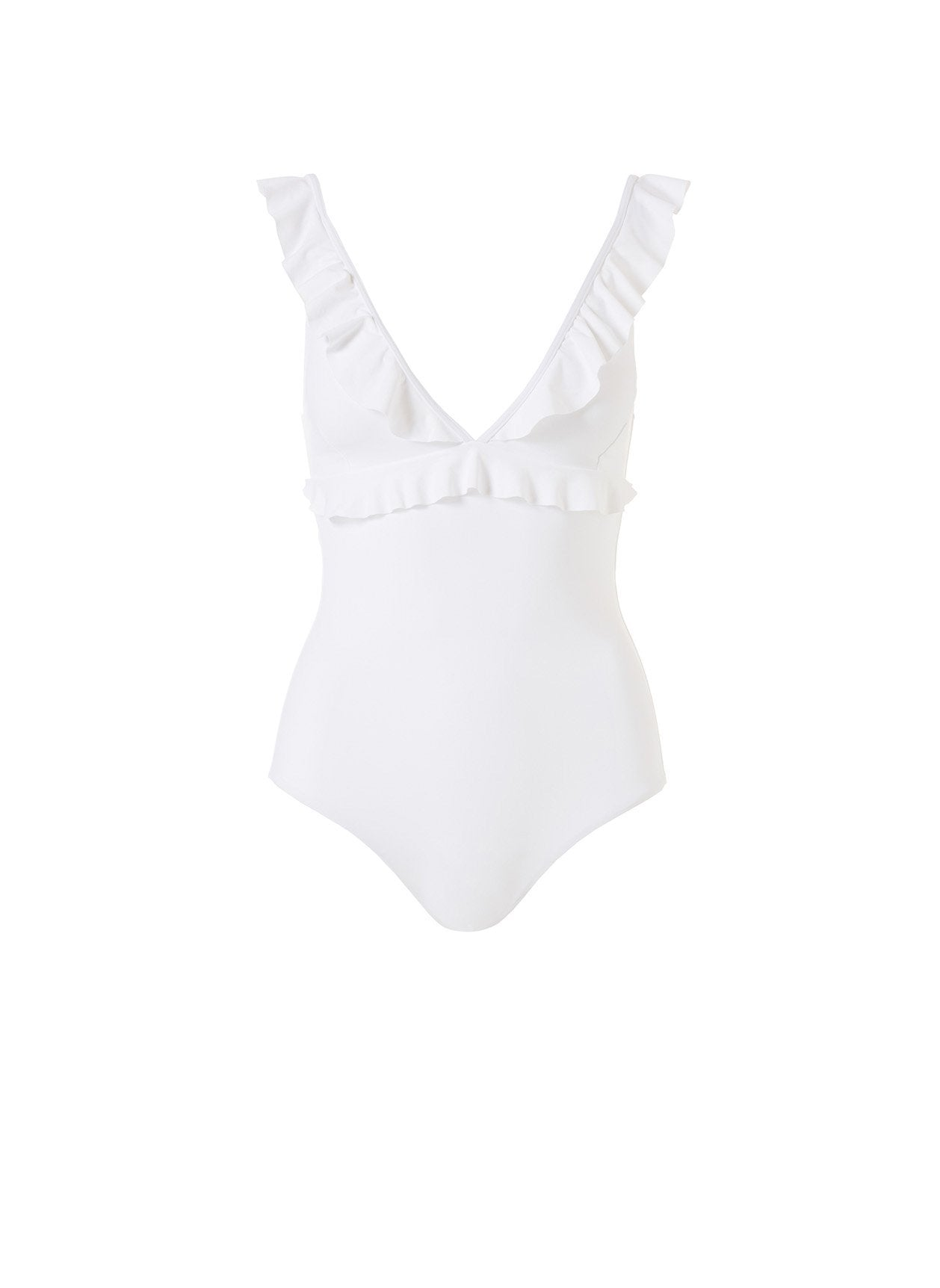 Los Angles White Frill Over The Shoulder One Piece 2020