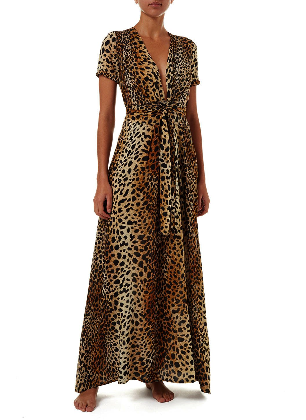lou cheetah vneck belted maxi dress 2019 F