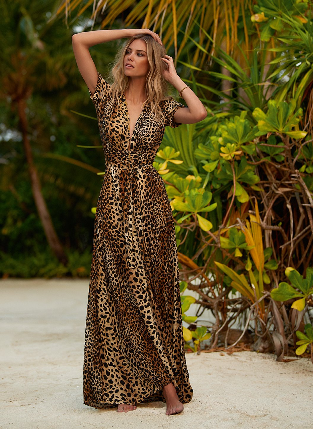 lou cheetah vneck belted maxi dress lifestyle 2 2019