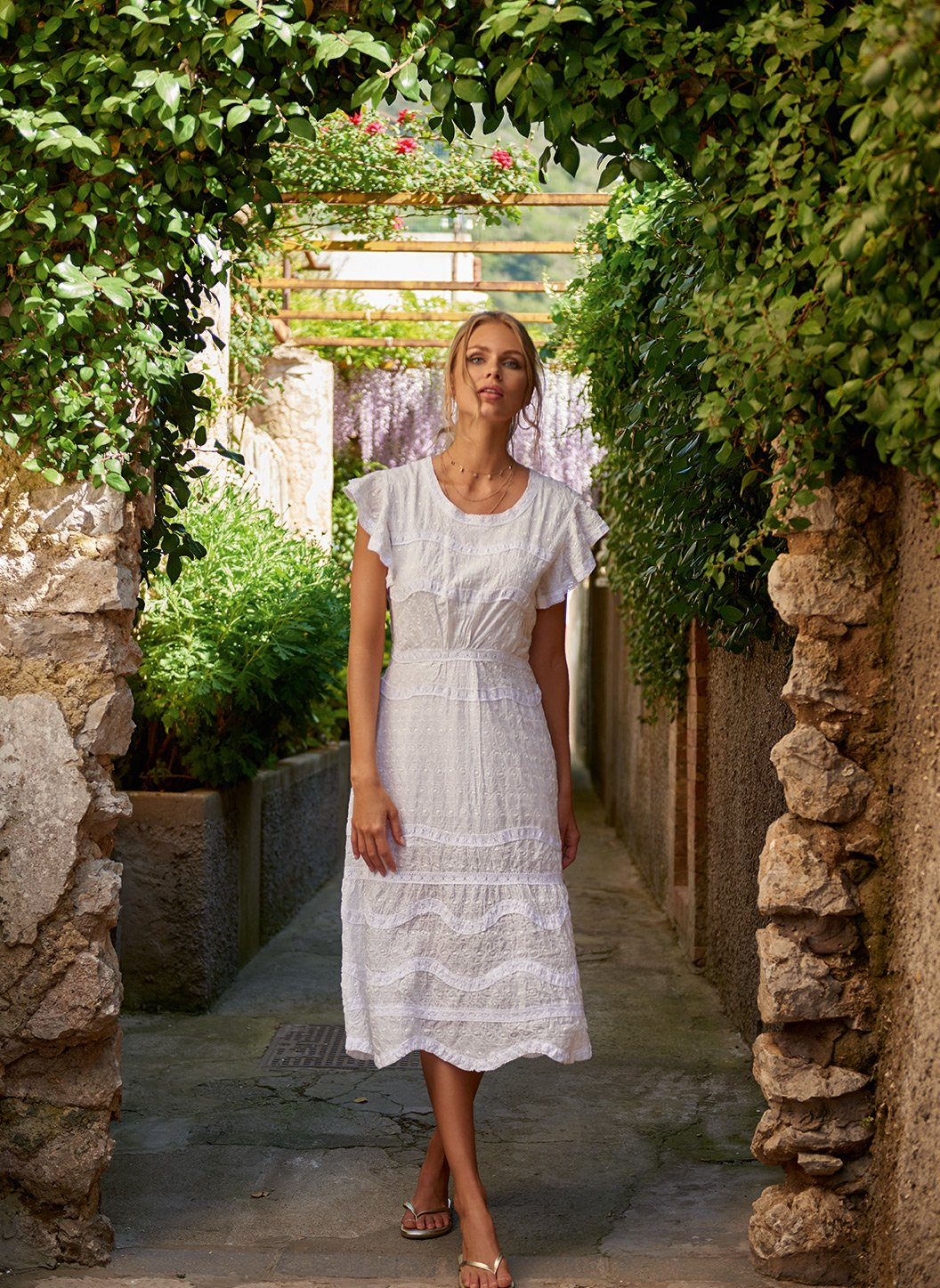louisa white highneck midi tea dress lifestyle 2019