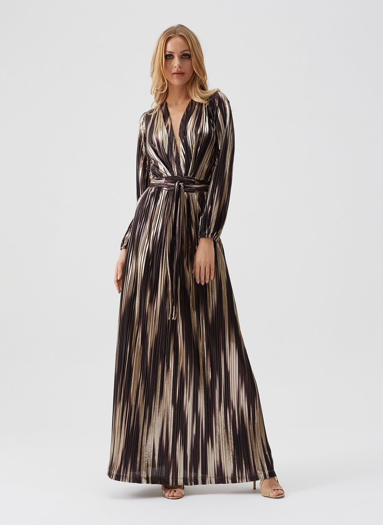 Maya Caramel Stripe Maxi Dress
