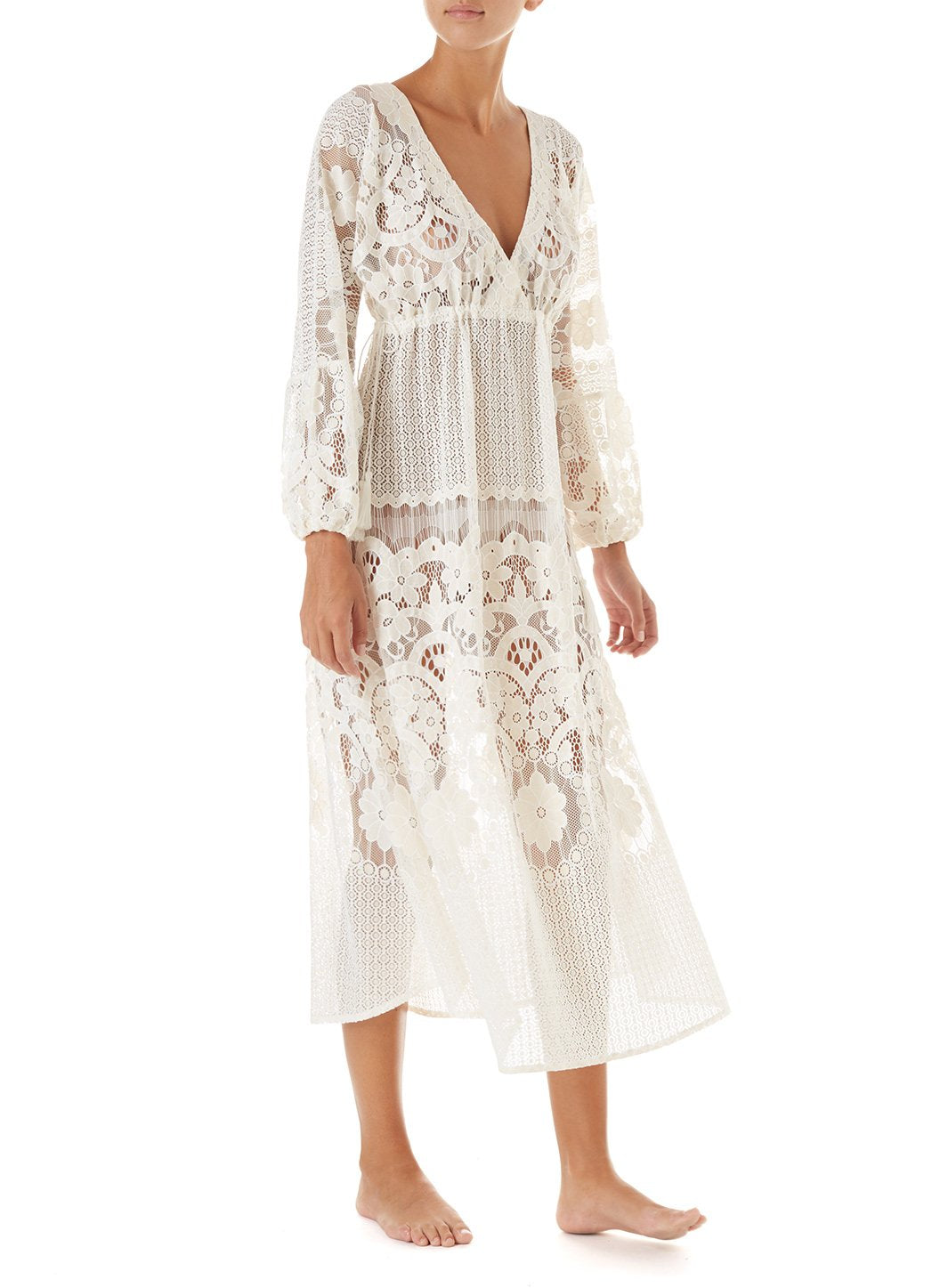 melissa cream lace tieside midi dress 2019 F_2