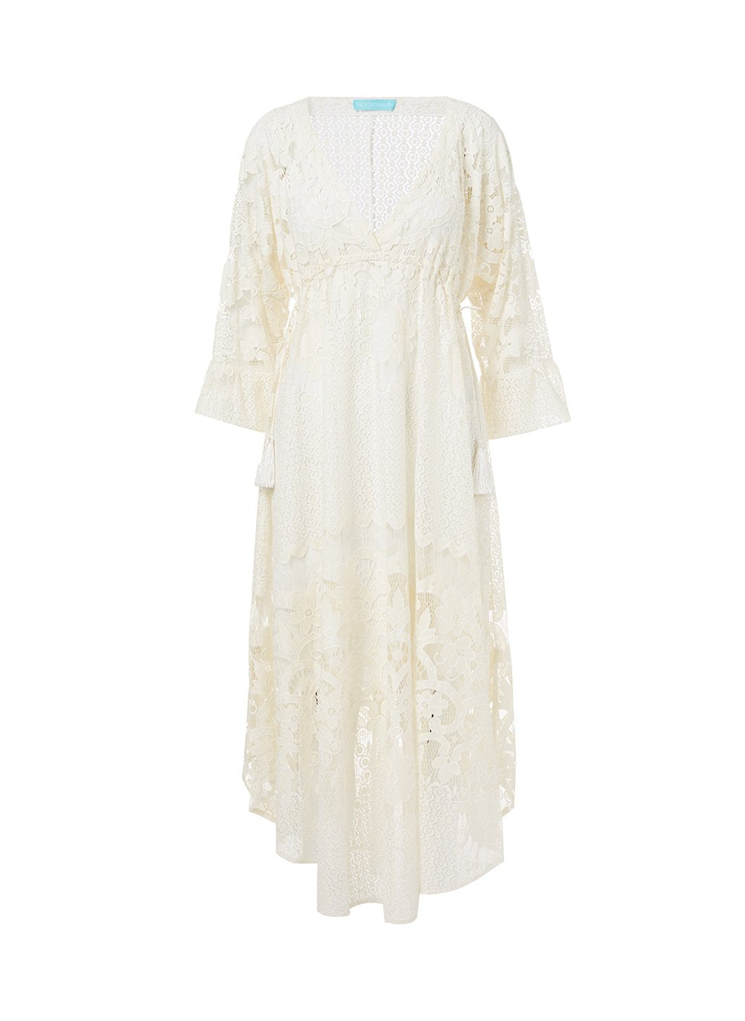 melissa cream lace tieside midi dress 2019