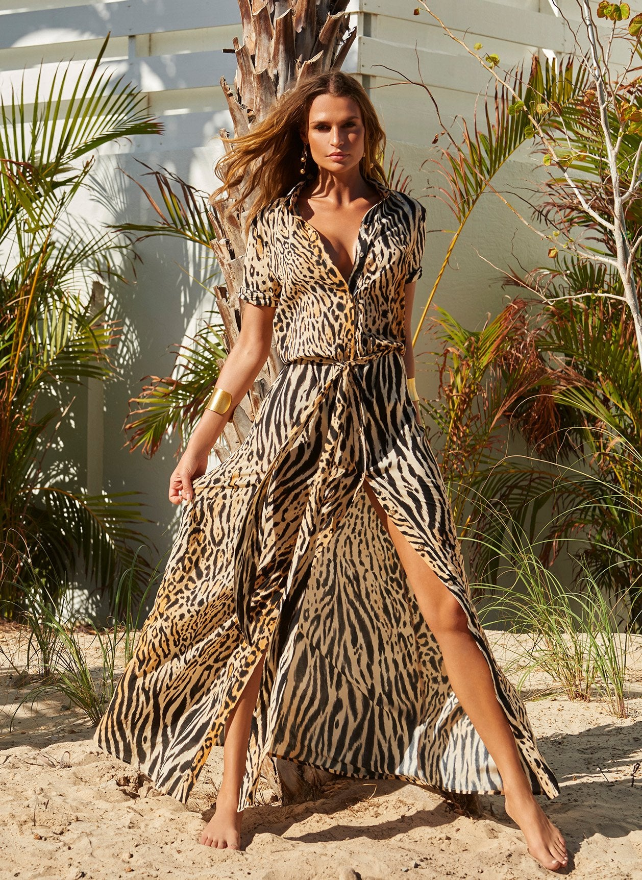Naomi Cheetah Long Shirt Dress