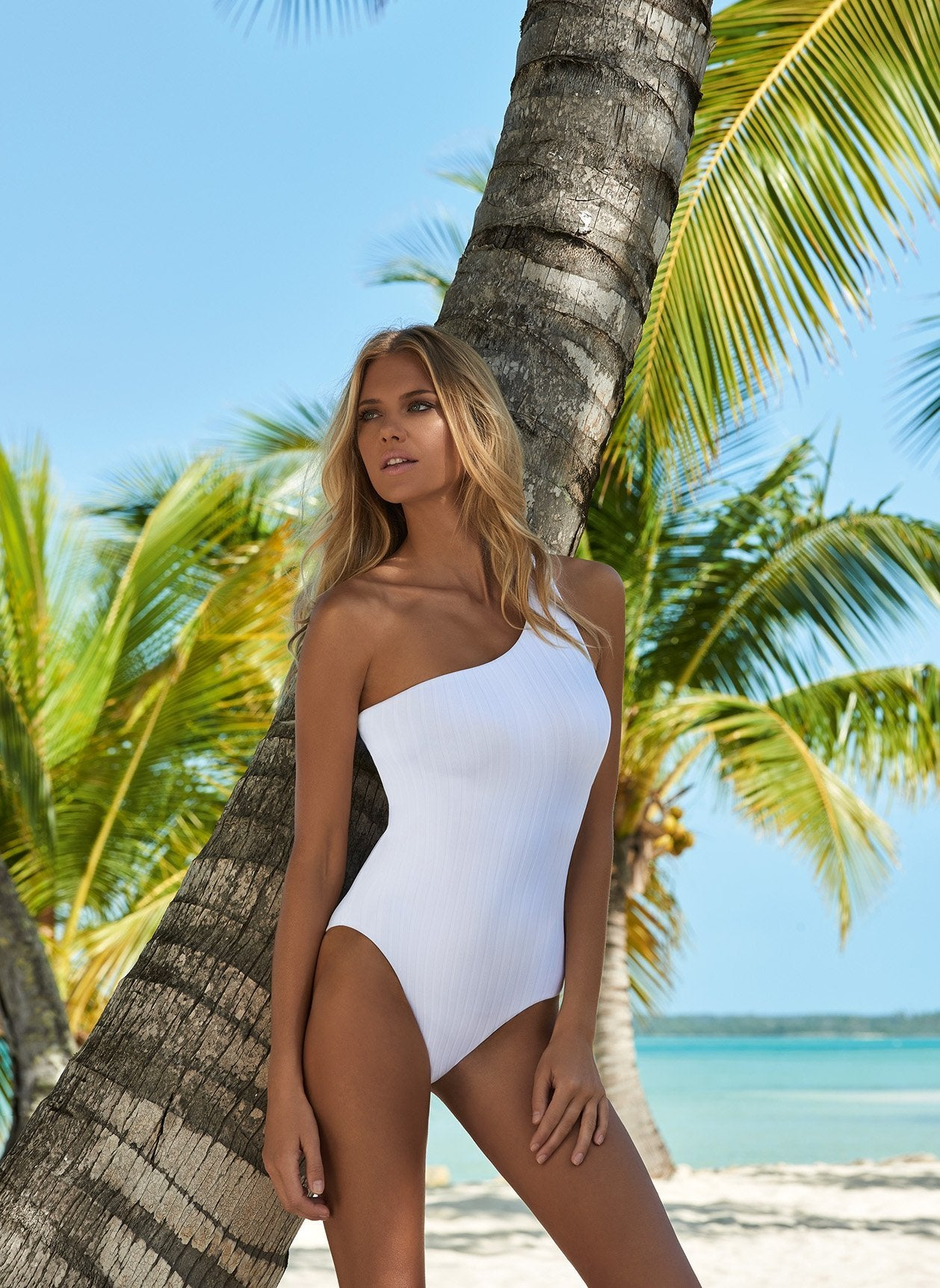 Palermo Ribbed White Swimsuit Lifestyle