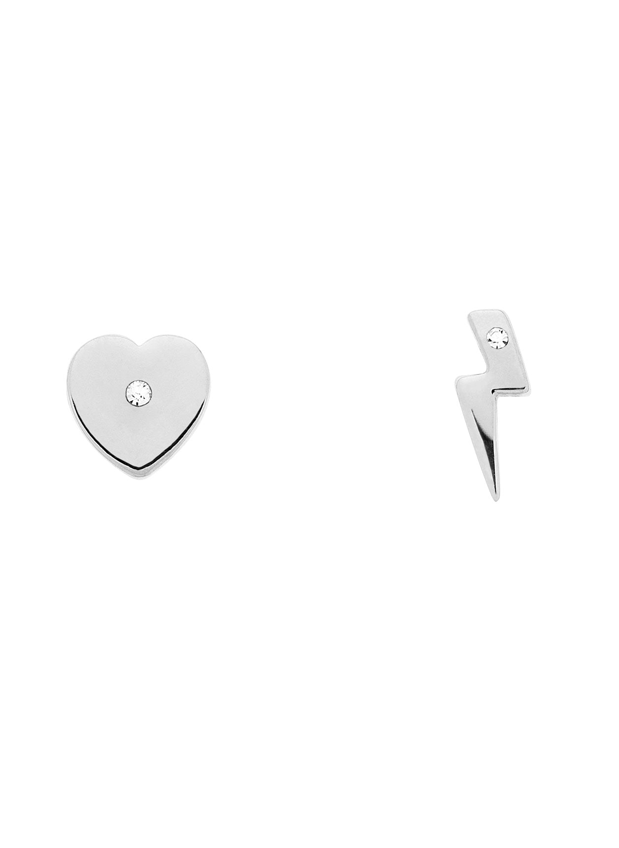 Rhodium Swarovski Heart/Lightning Earrings