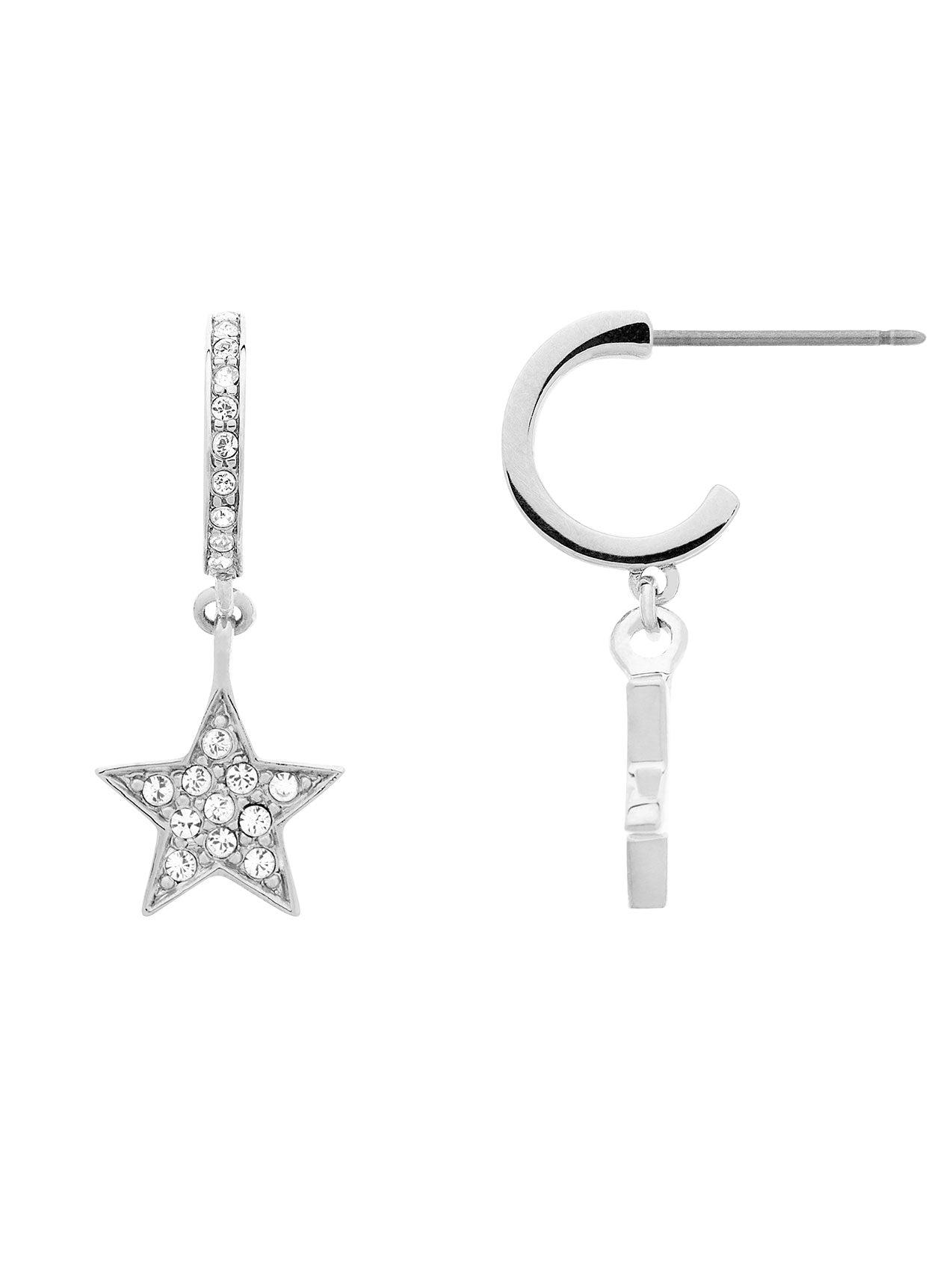 Rhodium Swarovski Star/Hoop Earrings