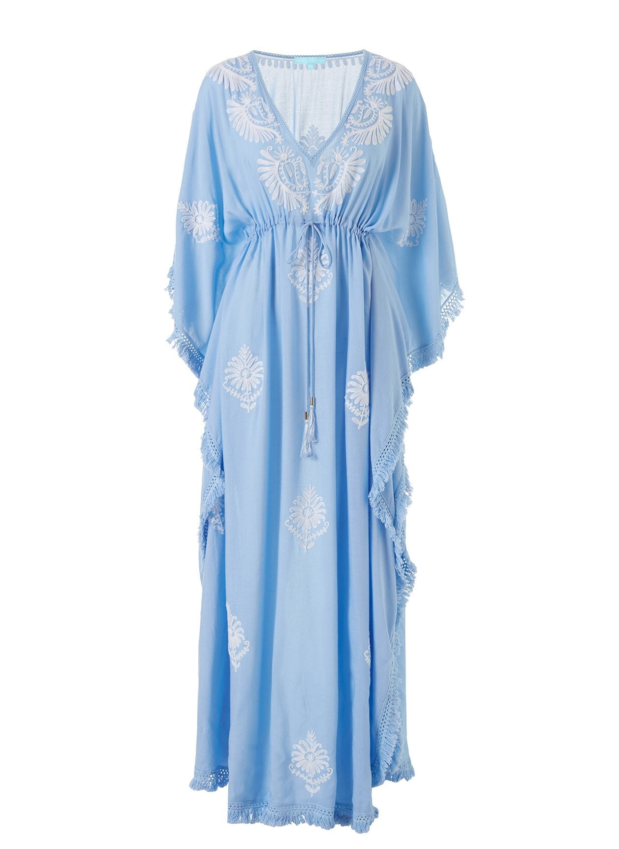 Safiah Cornflower/White Classic Embroidered V-Neck Maxi Kaftan 2020