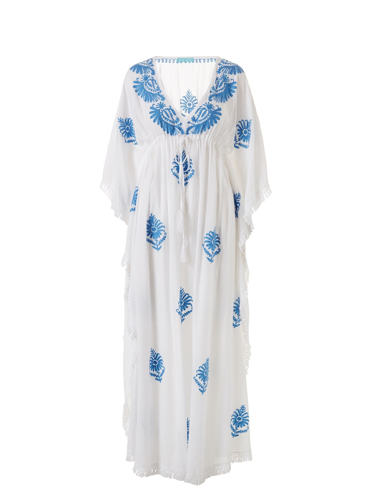 Safiah White/Royal Blue Classic Embroidered V-Neck Maxi Kaftan 2020
