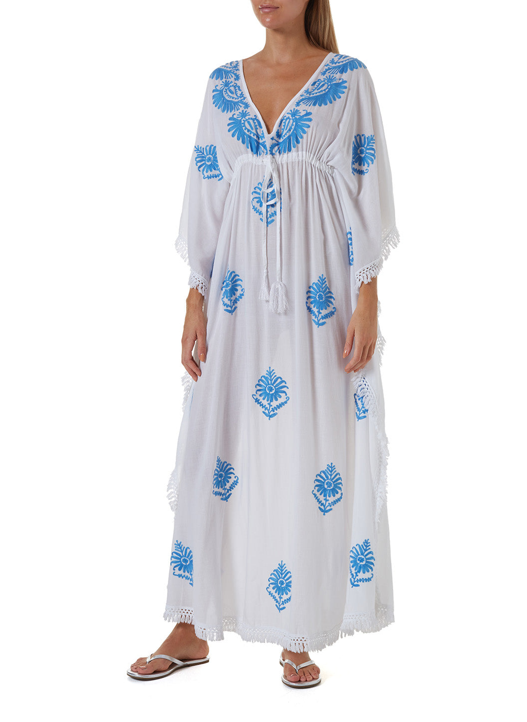 Safiah White/Royal Blue Long Kaftan