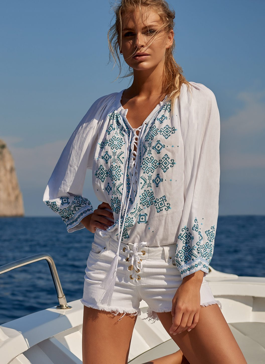 shiv white mint laceup embroidered blouse lifestyle 2019