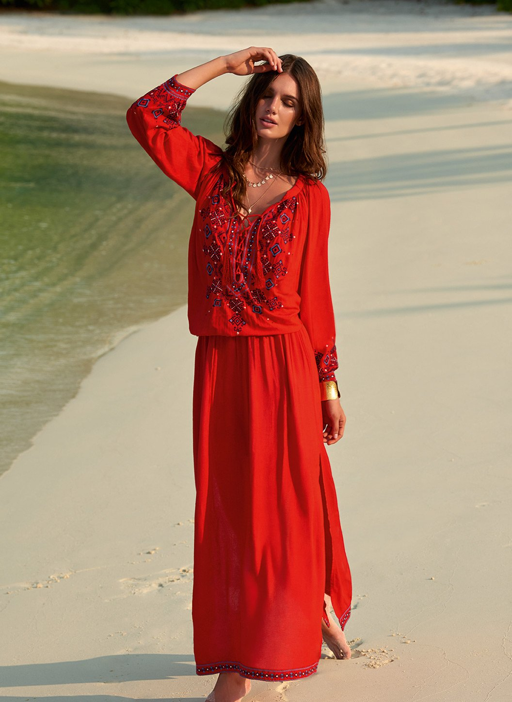 sienna red embroidered 34sleeve maxi dress lifestyle 2019