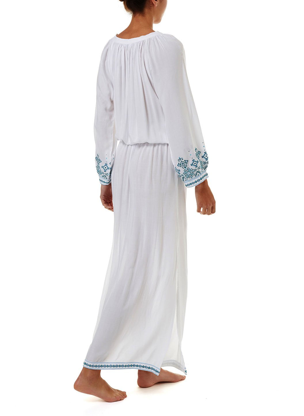 sienna white green embroidered 34sleeve maxi dress 2019 B