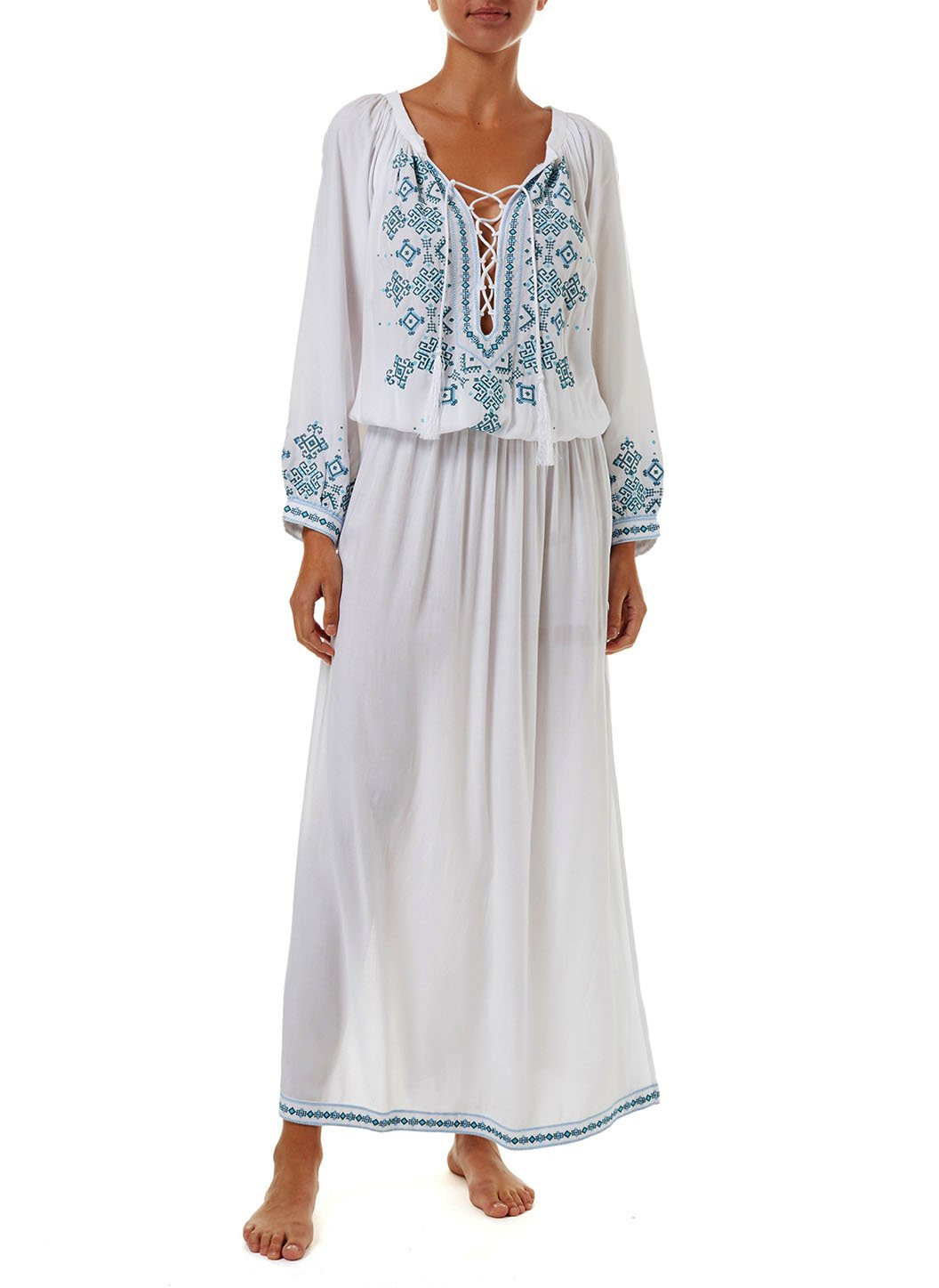 sienna white green embroidered 34sleeve maxi dress 2019 F