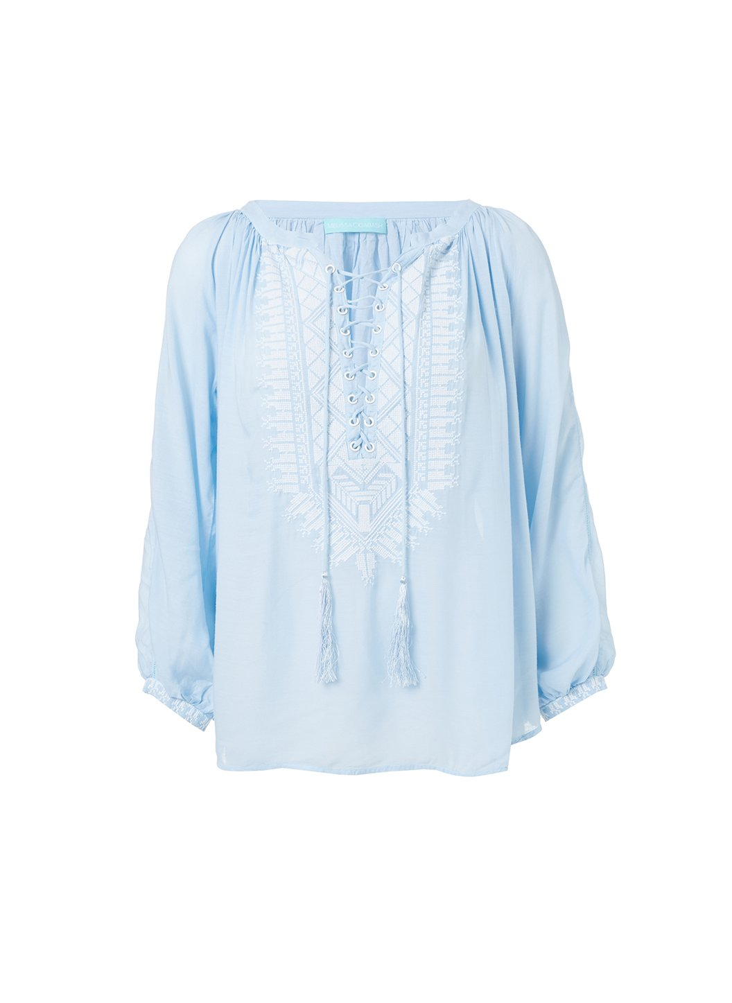 simona maya white laceup embroidered blouse 2019