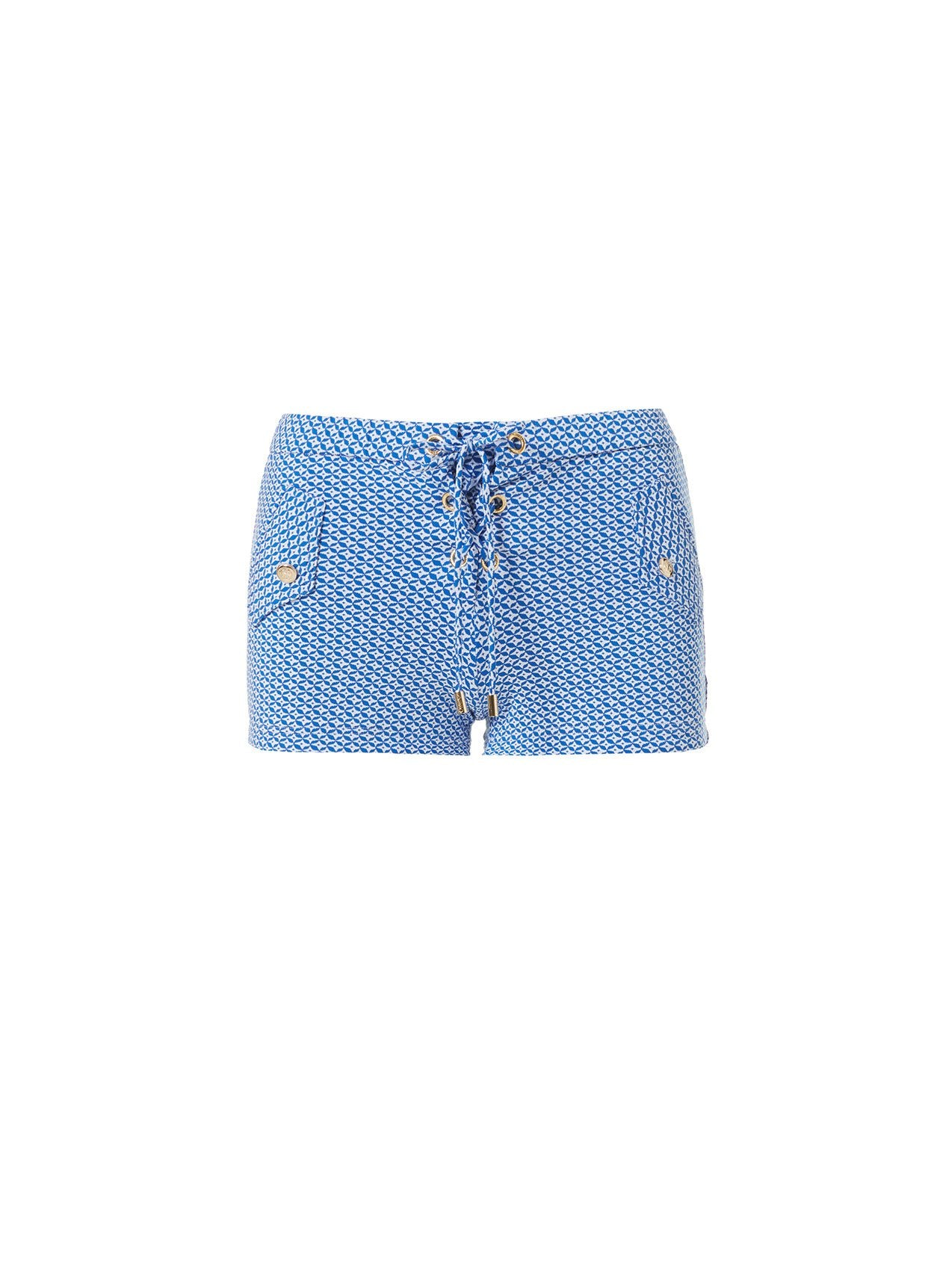 Sophia Mosaic Blue Lace Up Beach Shorts 2020