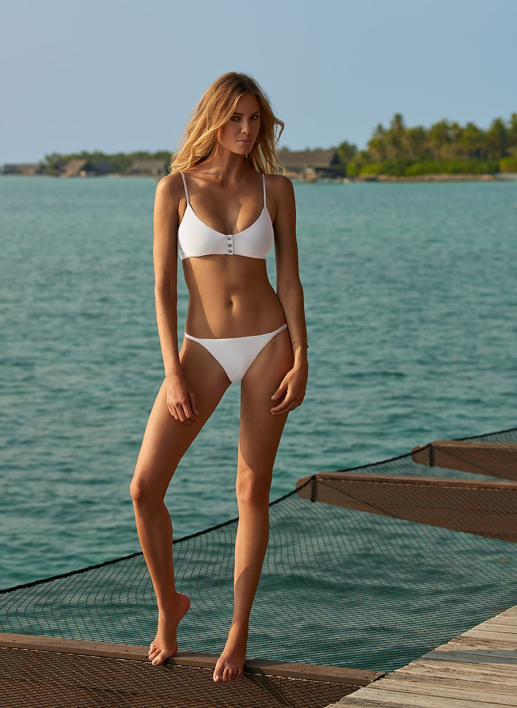 St Tropez White Ribbed Over The Shoulder Popper Crop Bikini